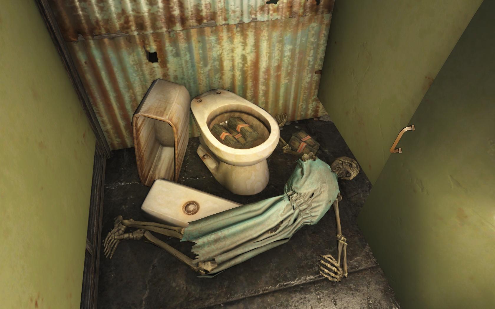 Оптимальное место для заначки (севернее Сомервилл-Плейс) - Fallout 4 скелет, Сомервилл-Плейс