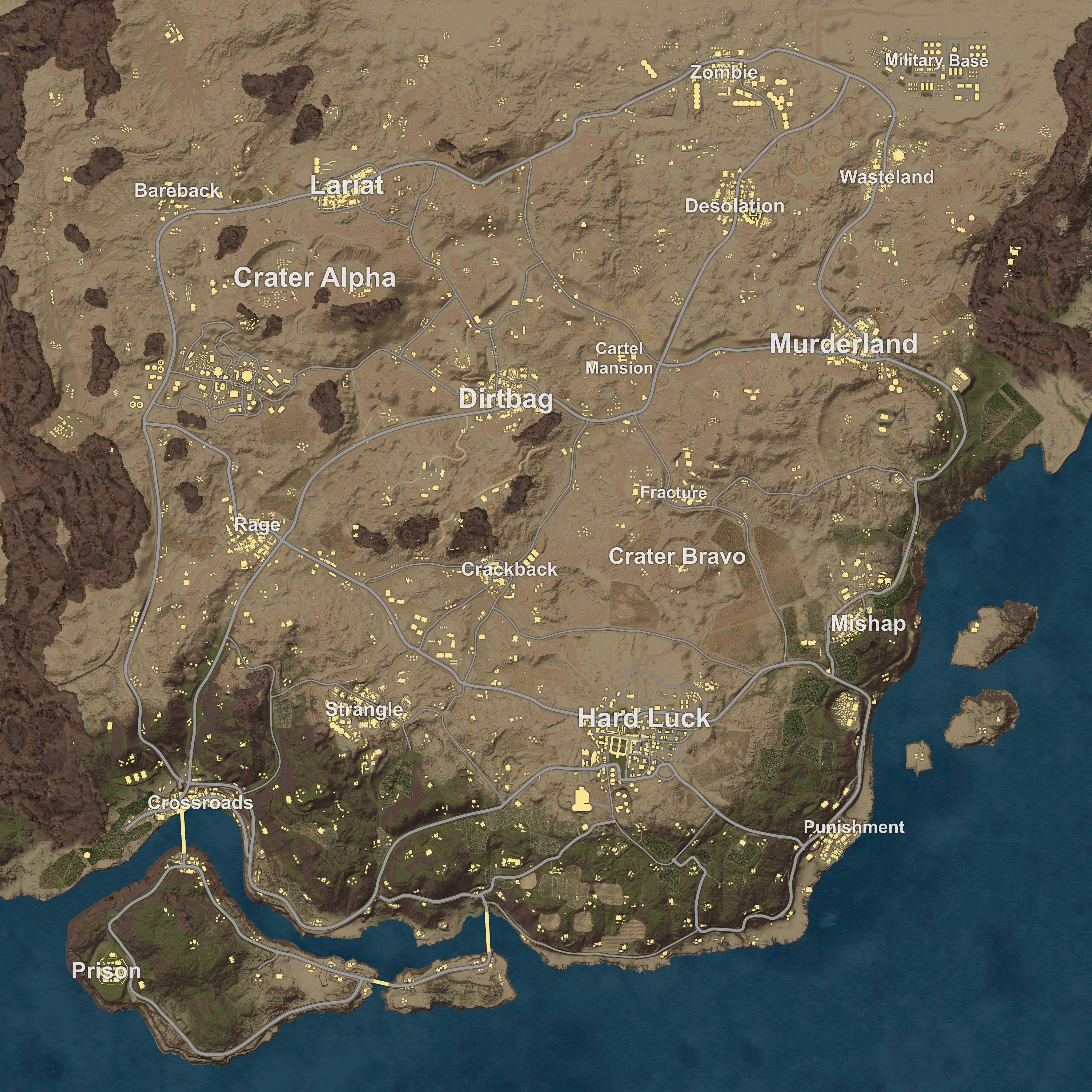 Playerunknown's Battlegrounds - Карта пустынной зоны - PlayerUnknown's Battlegrounds