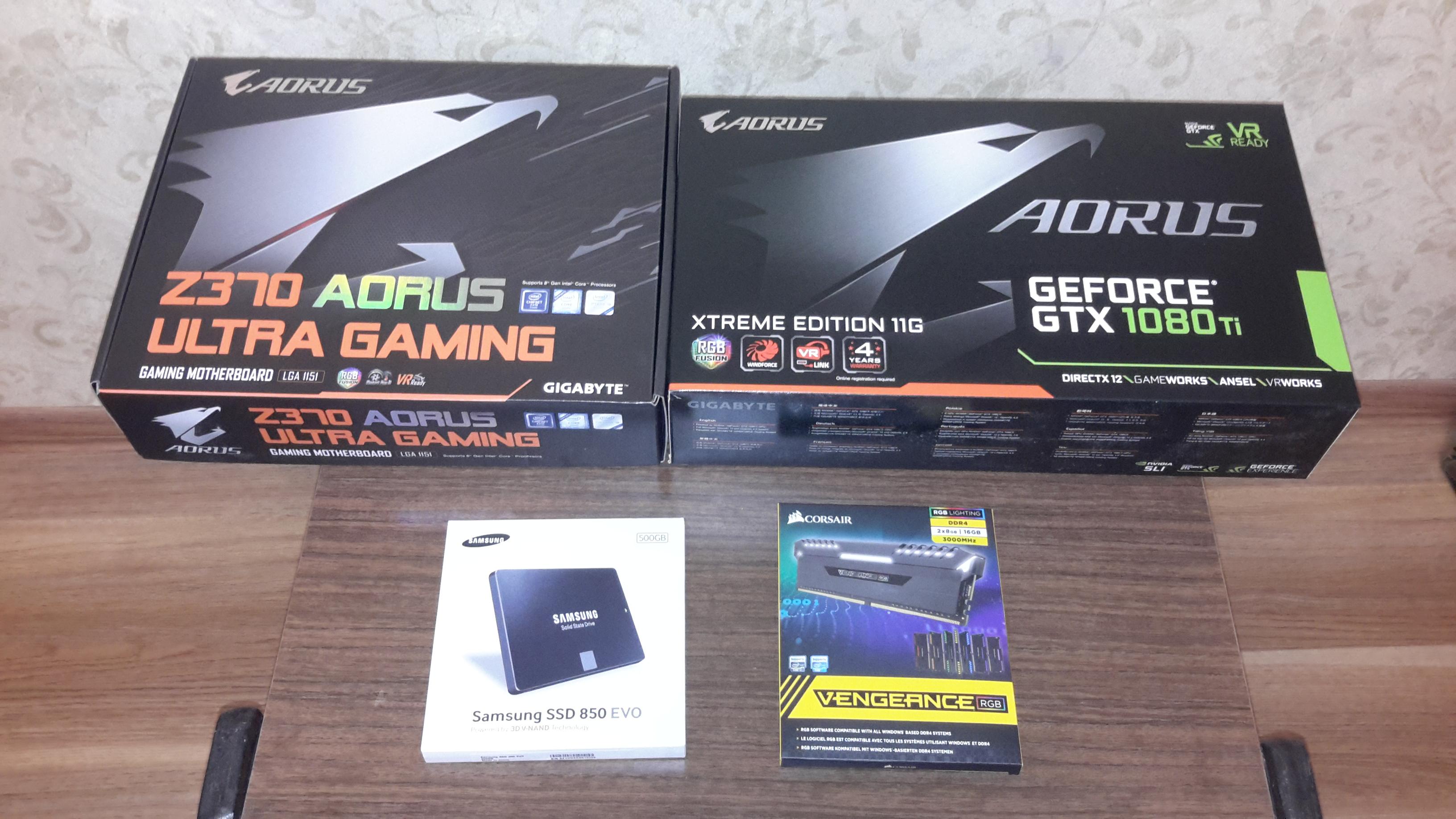 моё железо - - Aorus, Corsair, DDR4 2x8 3000mhz, GTX 1080ti 11Gb, SSD 500Gb, z370