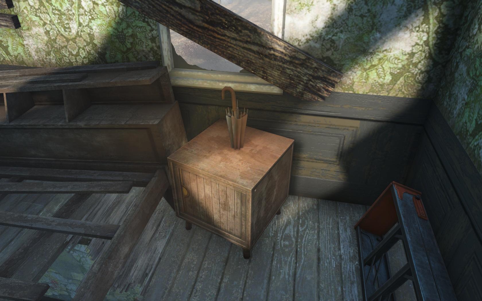 Может, это оружие? Пробивающий зонт? (Поместье Фэрлайн-Хилл) - Fallout 4 Баг, зонт, Поместье, Поместье Фэрлайн-Хилл, Фэрлайн-Хилл