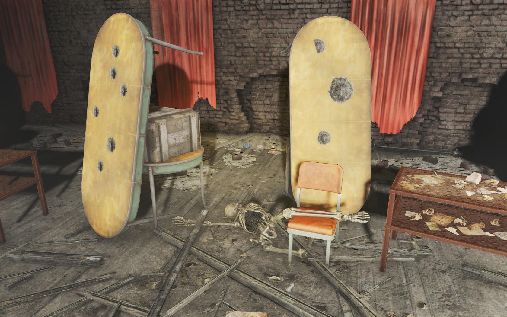 Тир (Подготовительная школа Восточного Бостона) - Fallout 4 Бостон, Восточный Бостон, Подготовительная, скелет, школа