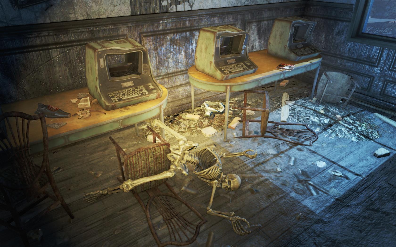 Компьютеры переворачивают жизнь (Подготовительная школа Восточного Бостона) - Fallout 4 Бостон, Восточный Бостон, Подготовительная, Скелет, школа