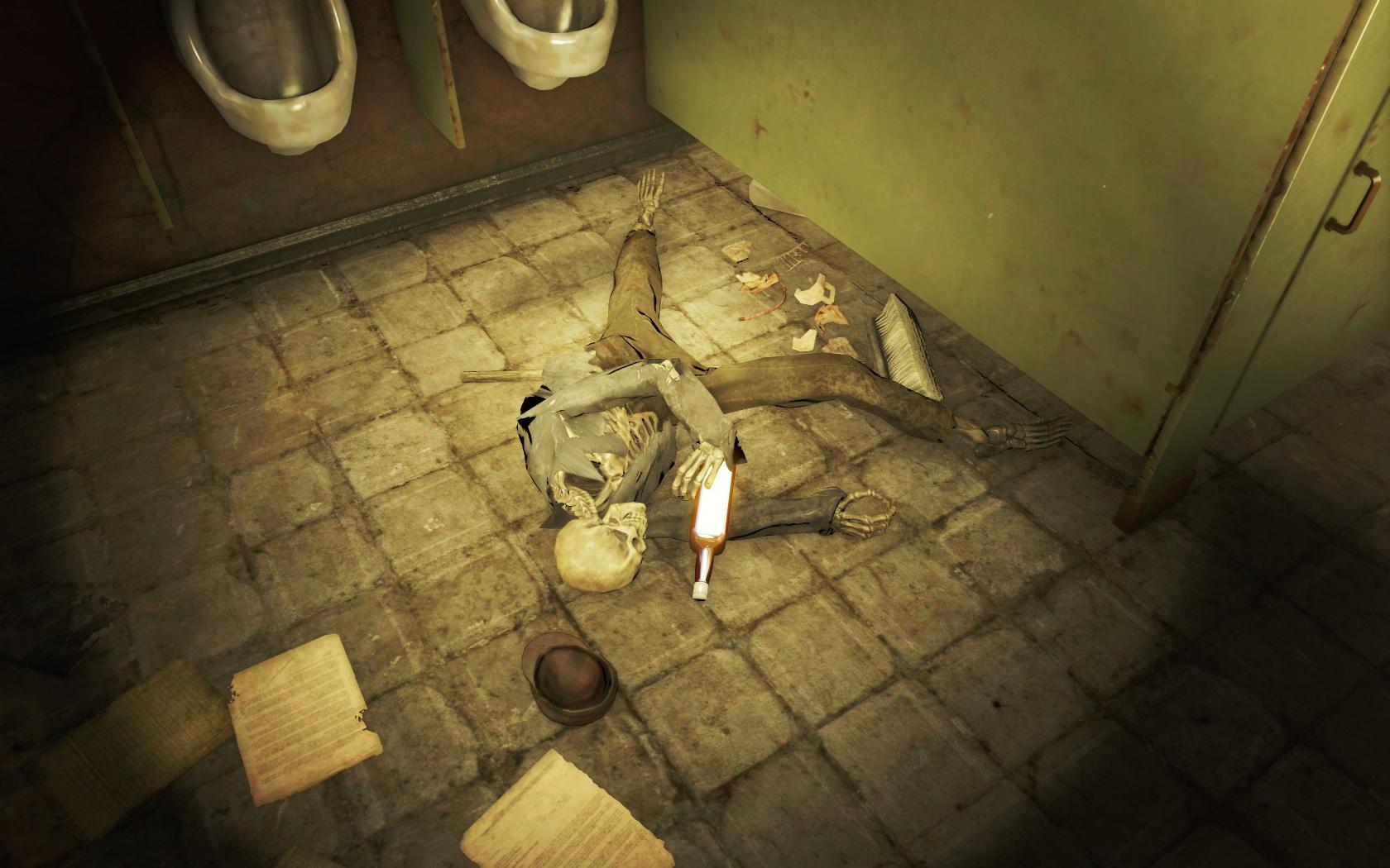 Приспичило выпить бурбона в сортире (Подготовительная школа Восточного Бостона) - Fallout 4 Бостон, бурбон, Восточный Бостон, Подготовительная, Скелет, школа