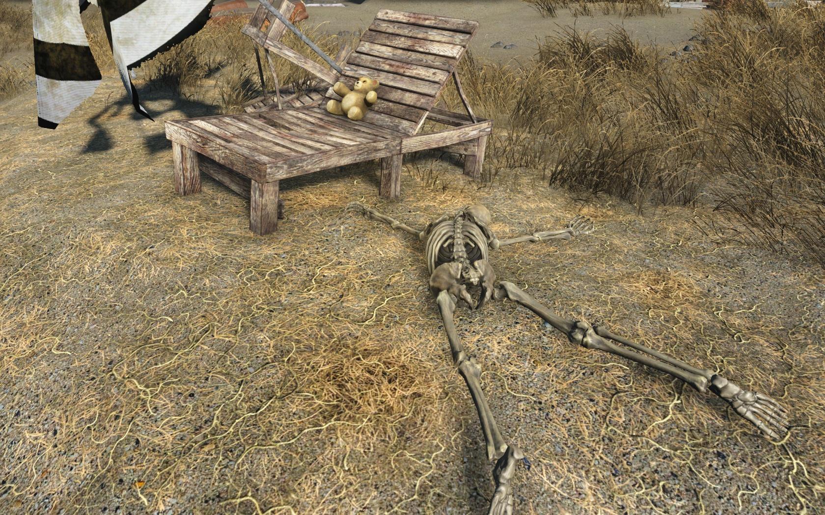 Загорают (западнее Парковки в Линн-Пир) - Fallout 4 Линн-Пир, Парковка, Парковка в Линн-Пир, скелет