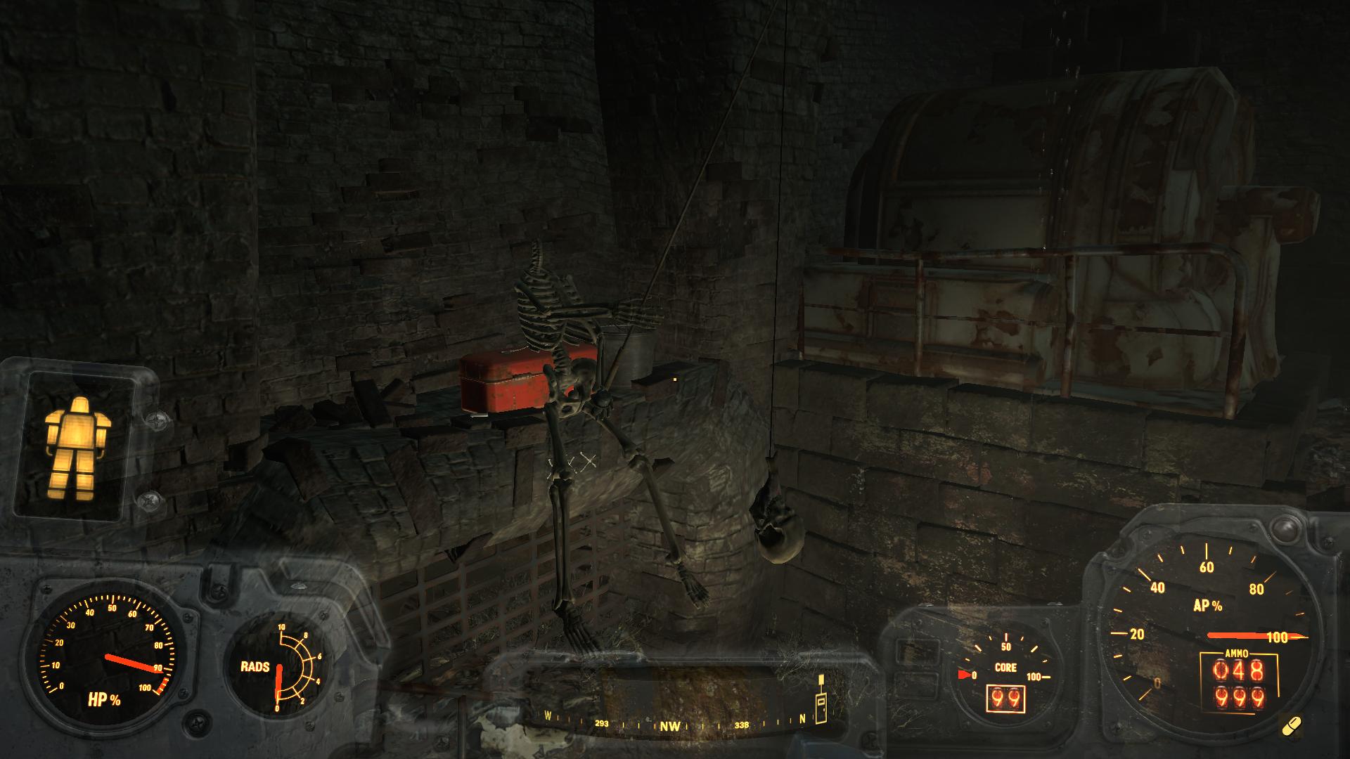 Рыбалка с умом - Fallout 4 череп, канализация возле Даймонд-сити
