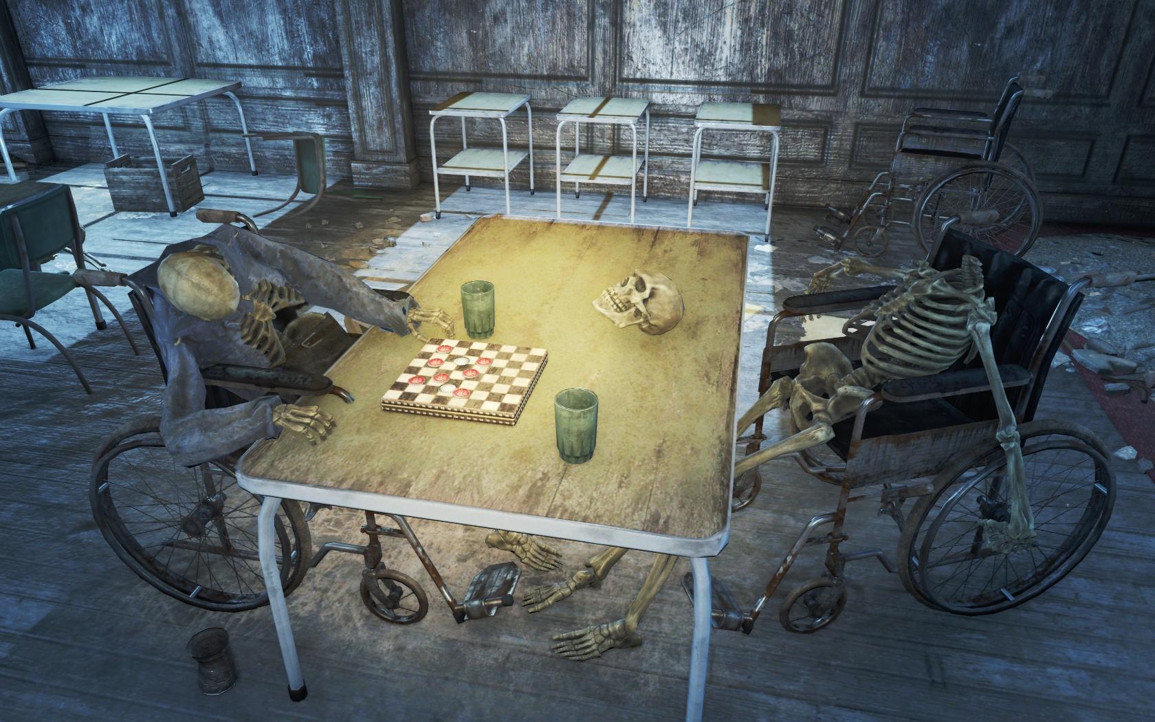 На кон голову поставил (Санаторий Сэнди-Коувс) - Fallout 4 Санаторий, Санаторий Сэнди-Коувс, скелет, Сэнди-Коувс
