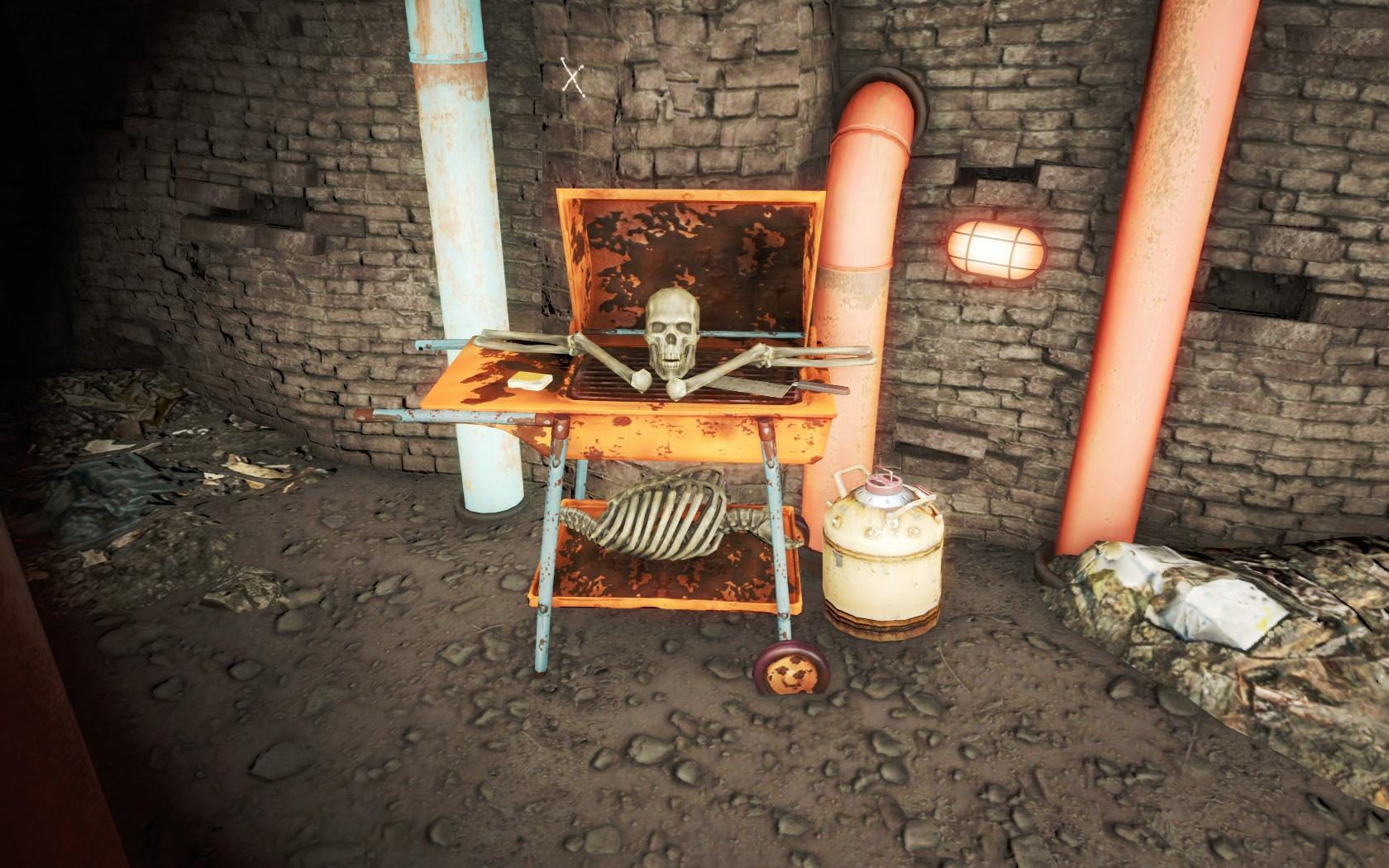 Пикник (Канализация Фенс-стрит) - Fallout 4 Канализация, Канализация Фенс-стрит, скелет, Фенс, Фенс-стрит