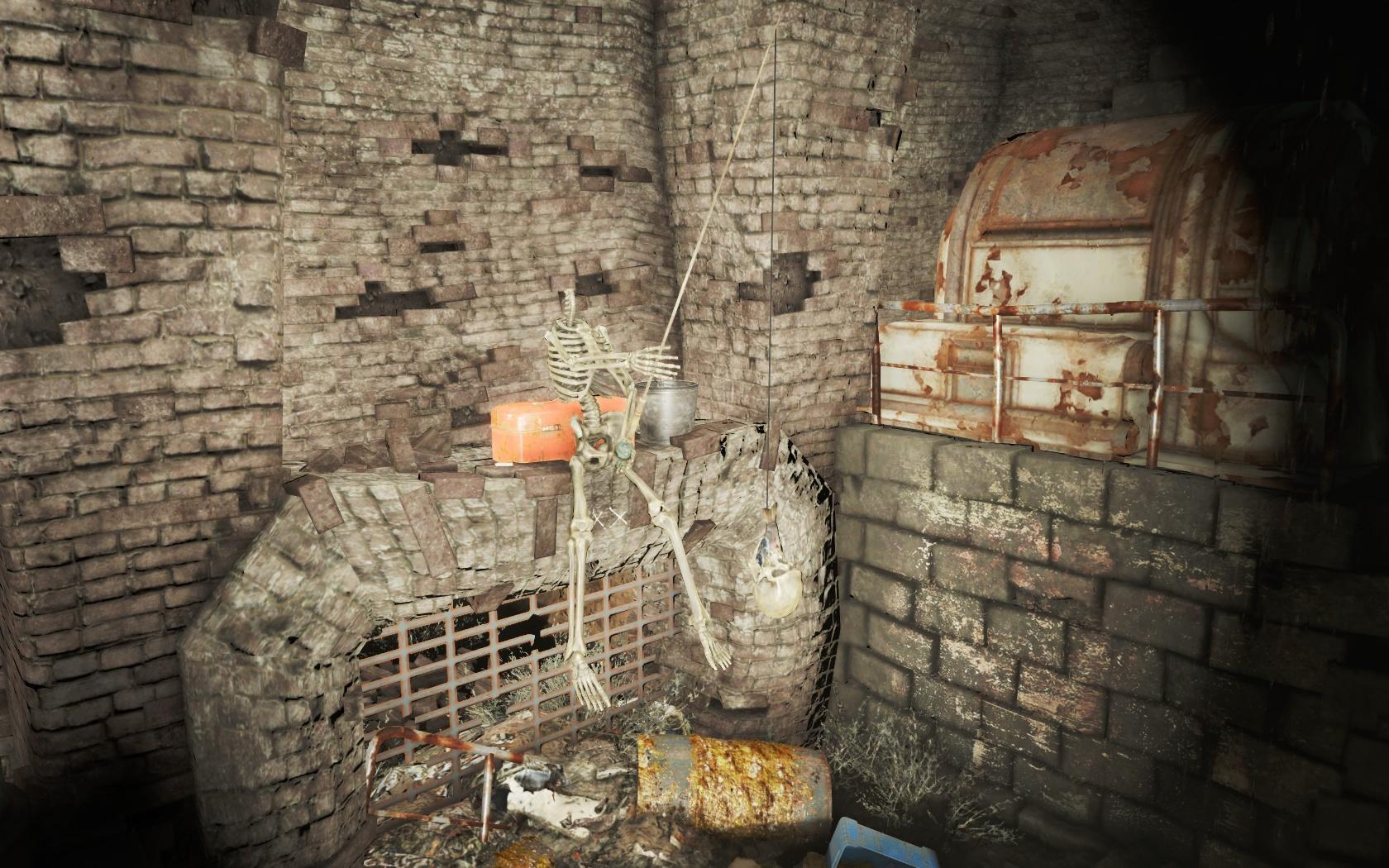 Рыбак (Канализация Фенс-стрит) - Fallout 4 Канализация, Канализация Фенс-стрит, скелет, Фенс, Фенс-стрит