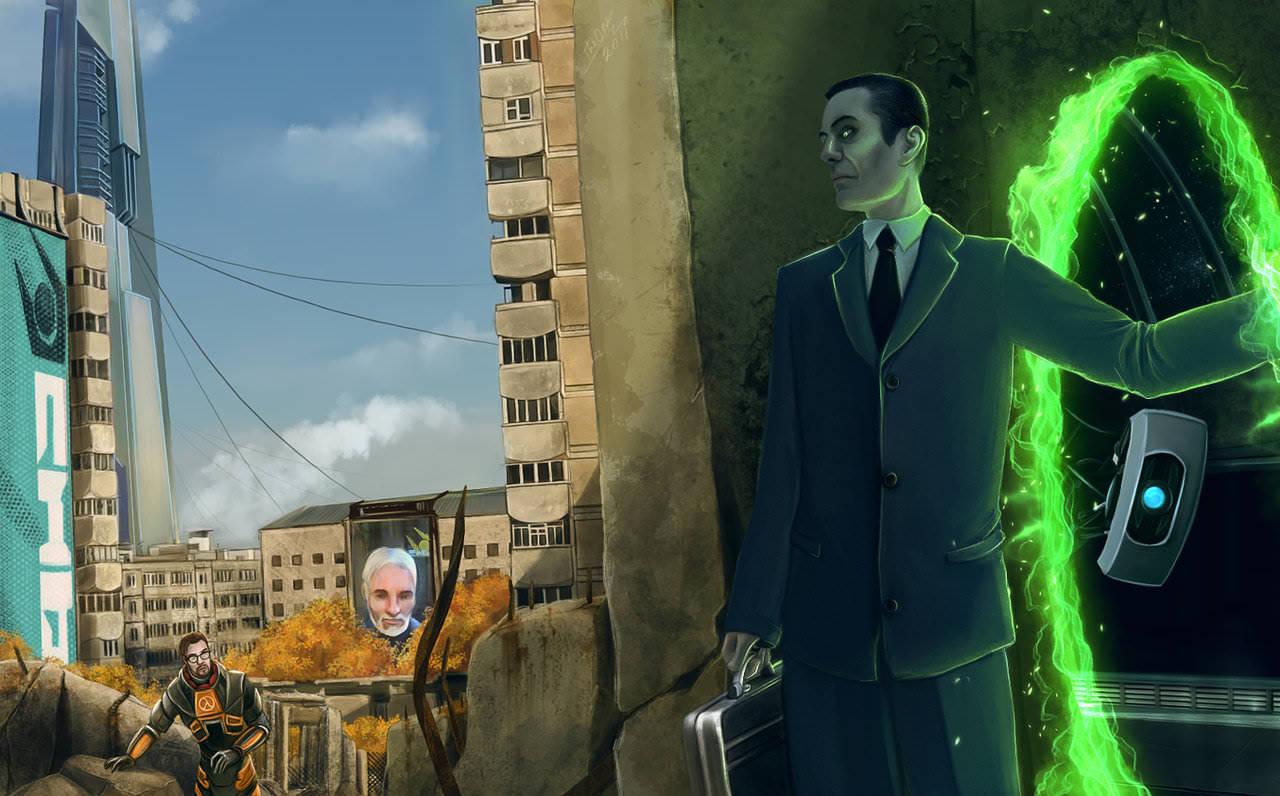 G-Man - Half-Life 2 арт, ГЛэДОС, Гордон Фримен, персонаж, цитадель