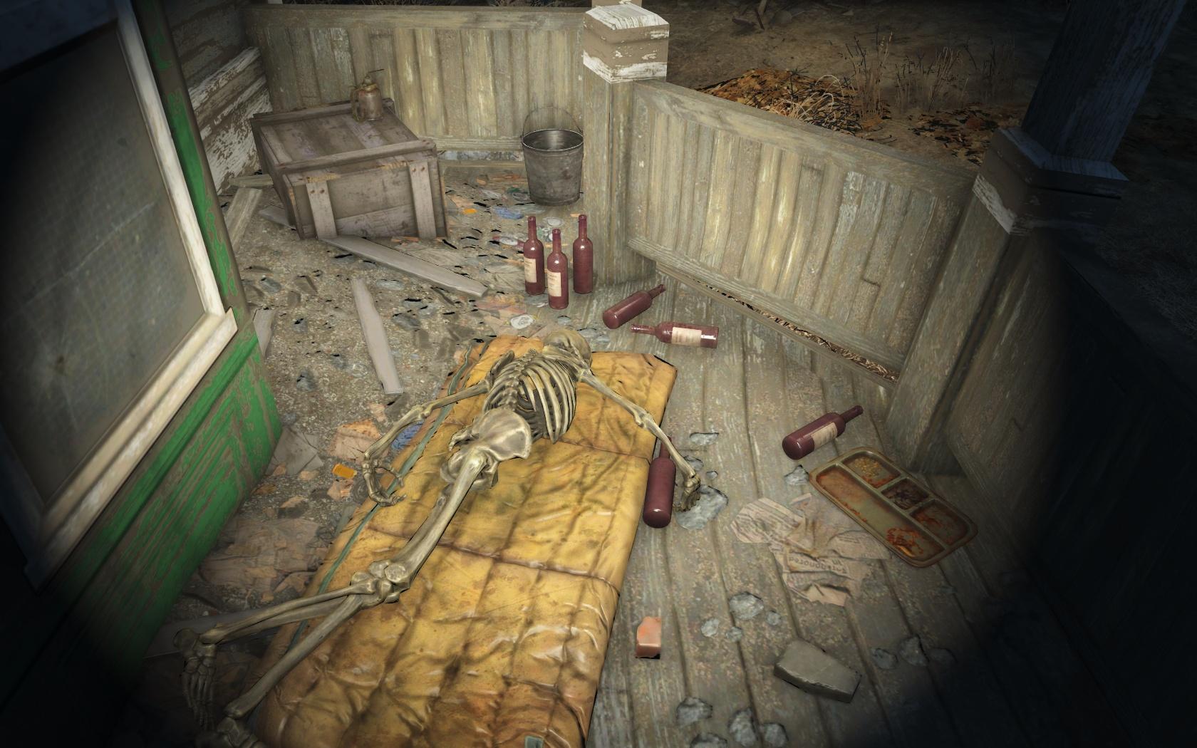 Напиться и забыться (восточнее Резервуара Честнат-Хиллок) - Fallout 4 Резервуар, Резервуар Честнат-Хиллок, Скелет, Честнат-Хиллок