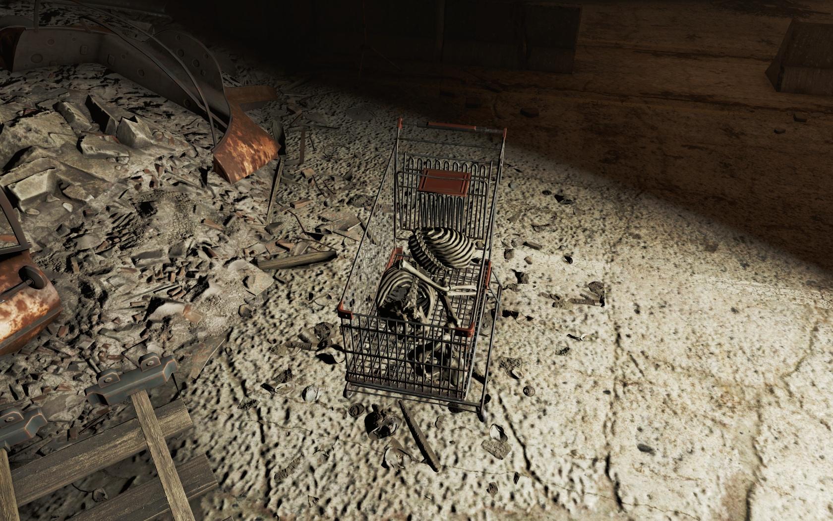 Только что из магазина с покупками (Тоннель Масс-Пайк) - Fallout 4 Масс-Пайк, скелет, Тоннель, Тоннель Масс-Пайк
