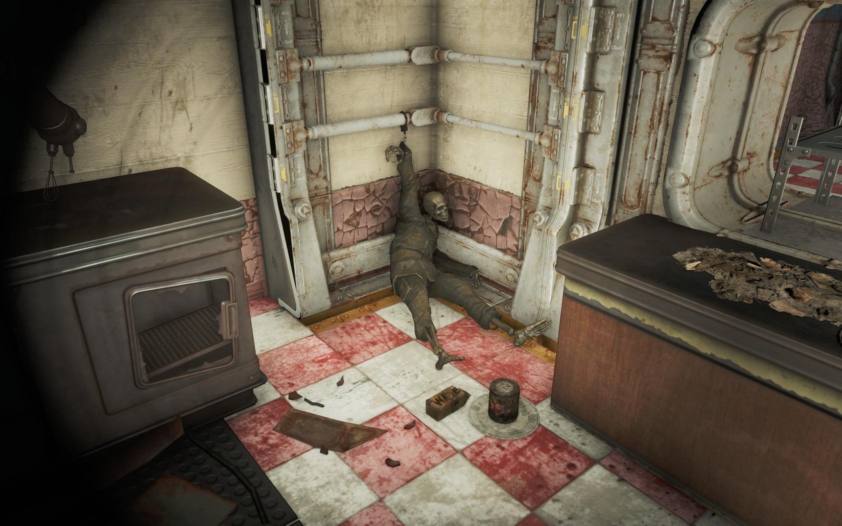 Пленник с собачьими консервами и молоком (Убежище 75) - Fallout 4 консервы, молоко, скелет, собачьи консервы, Убежище, Убежище 75