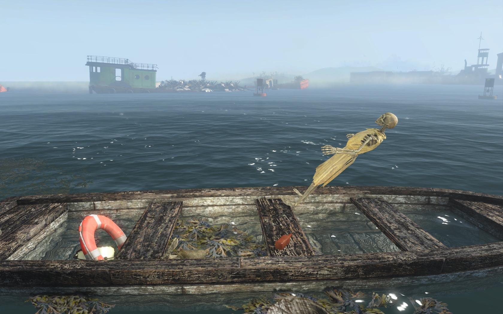Чудесное воспарение (набережная у Бара Клевер) - Fallout 4 Баг, Бар, Бар Клевер, Клевер, набережная, скелет