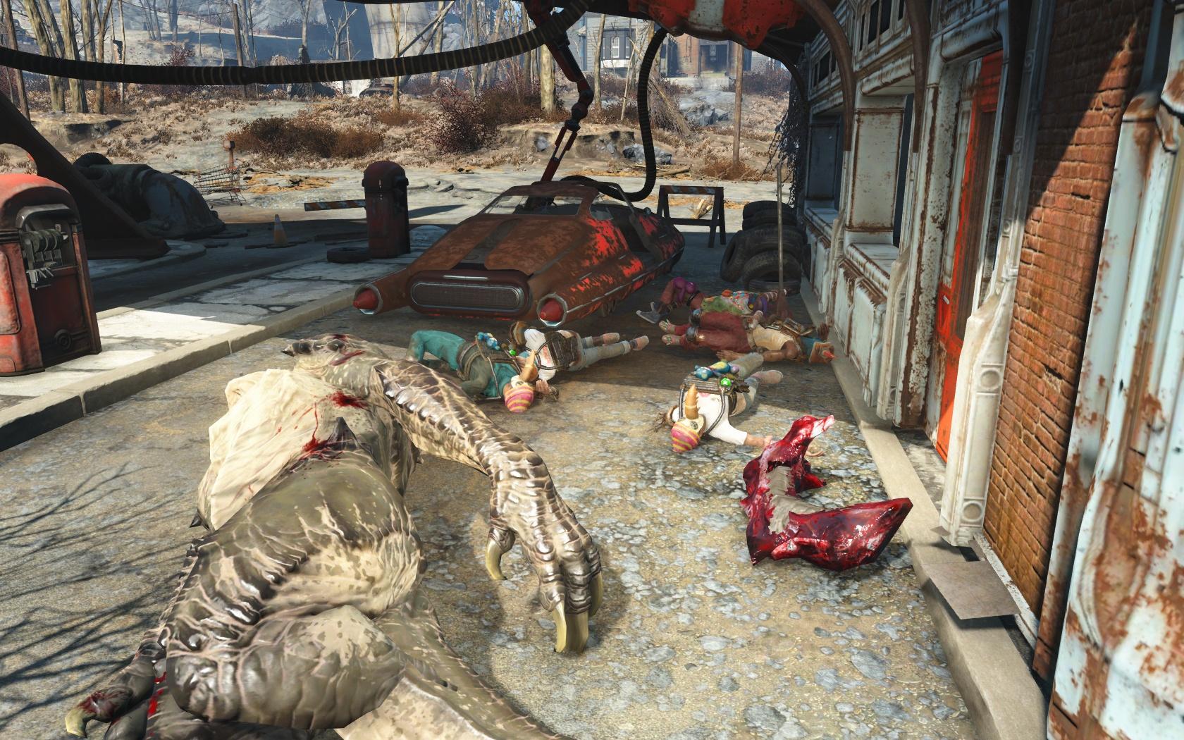 Коготок вынес всю Стаю (около Административного здания колледжа) - Fallout 4 Административное здание колледжа, Коготь, колледж, Стая