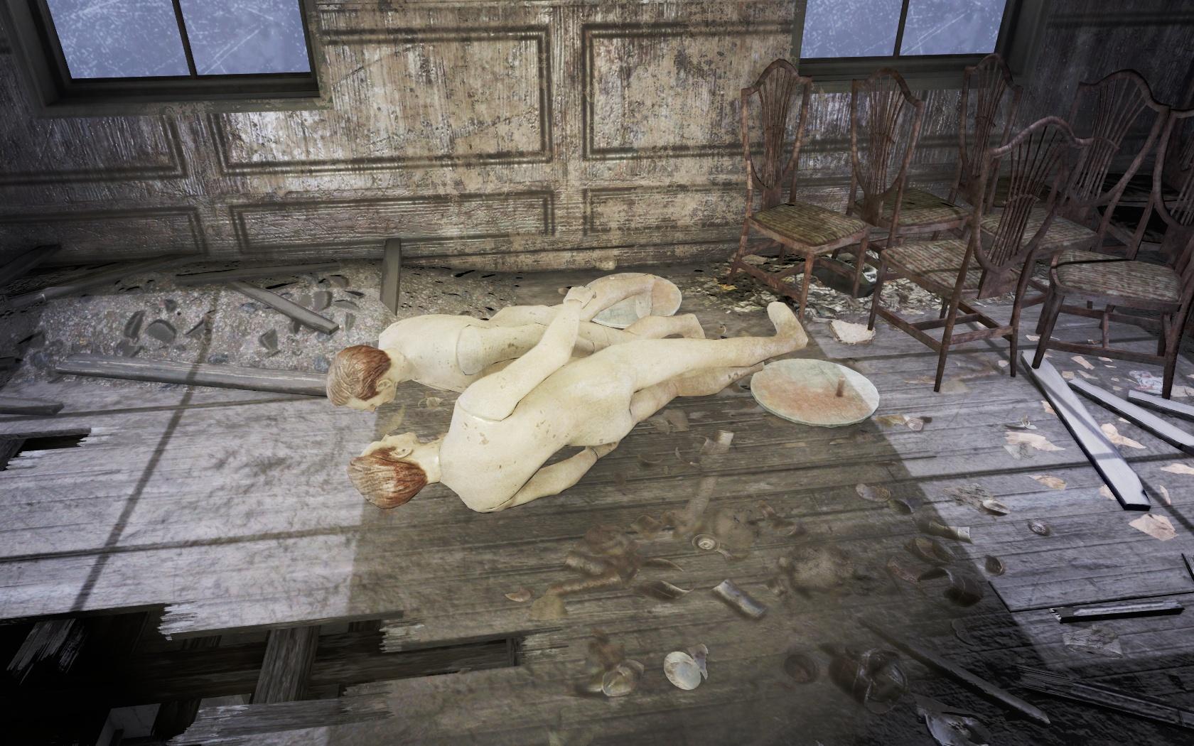 Прилегли голубки (Подготовительная школа Восточного Бостона) - Fallout 4 Бостон, Восточный Бостон, манекен, Подготовительная школа Восточного Бостона, школа
