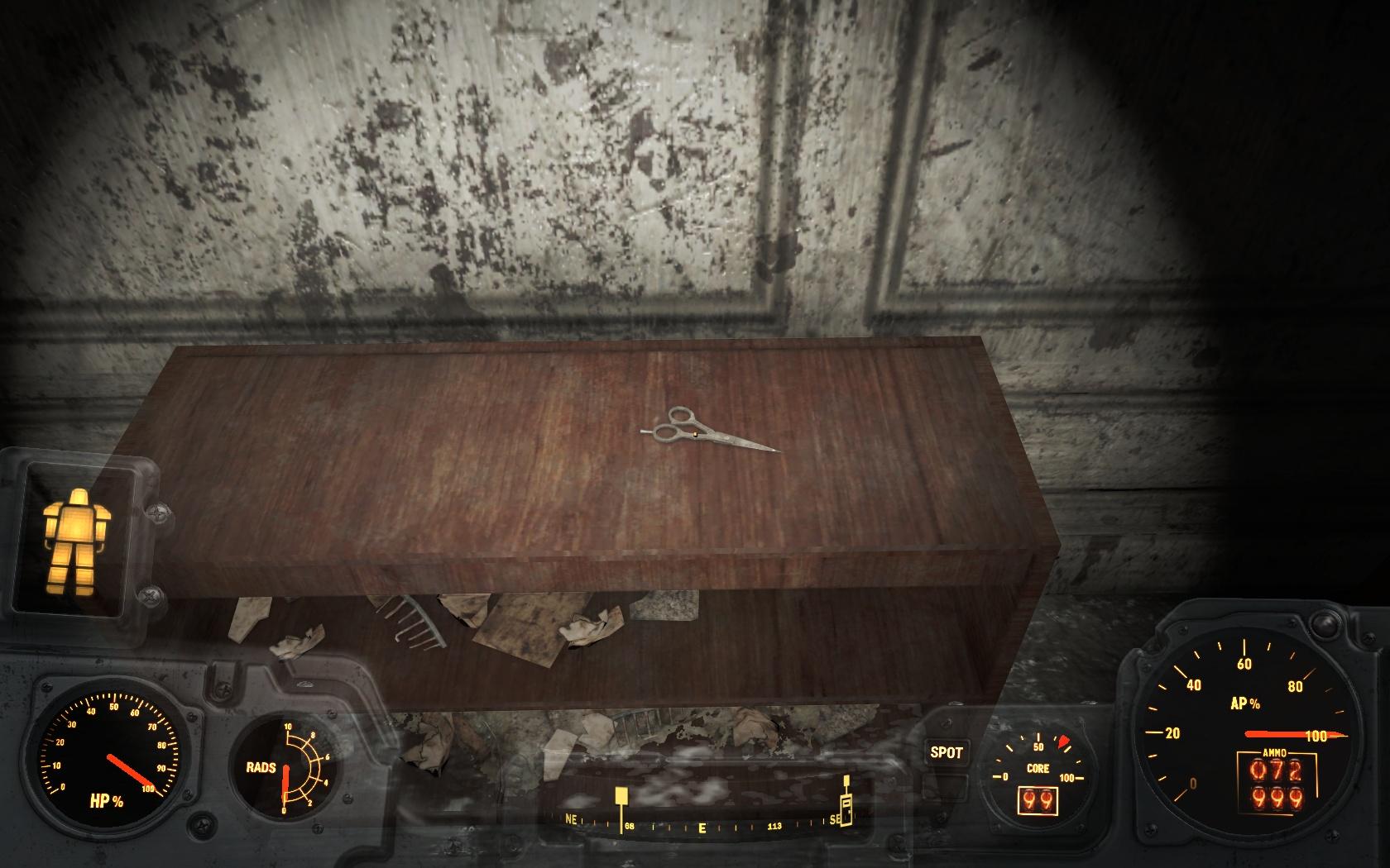 Недоступные ножницы (Психиатрическая больница Парсонс) - Fallout 4 Баг, больница, Недоступный, ножницы, Парсонс, Психиатрическая больница Парсонс