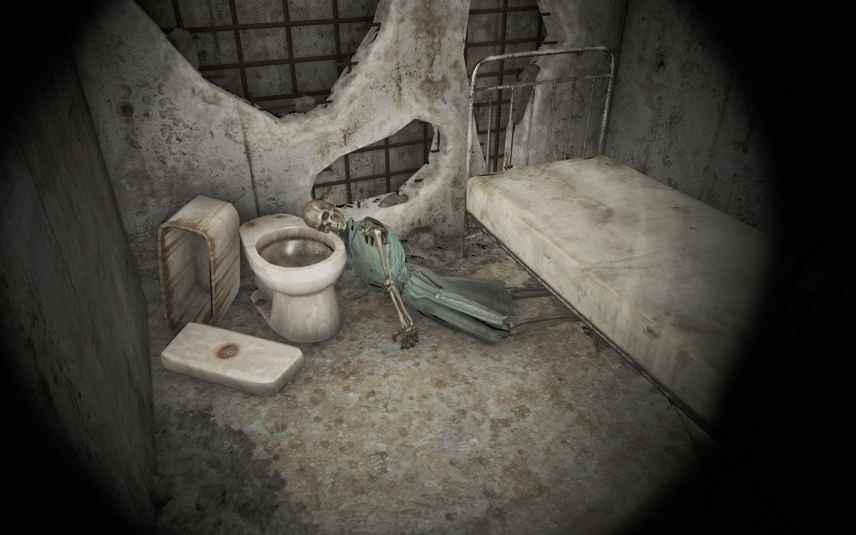 Так и умерла (Психиатрическая больница Парсонс) - Fallout 4 больница, Парсонс, Психиатрическая больница Парсонс, скелет