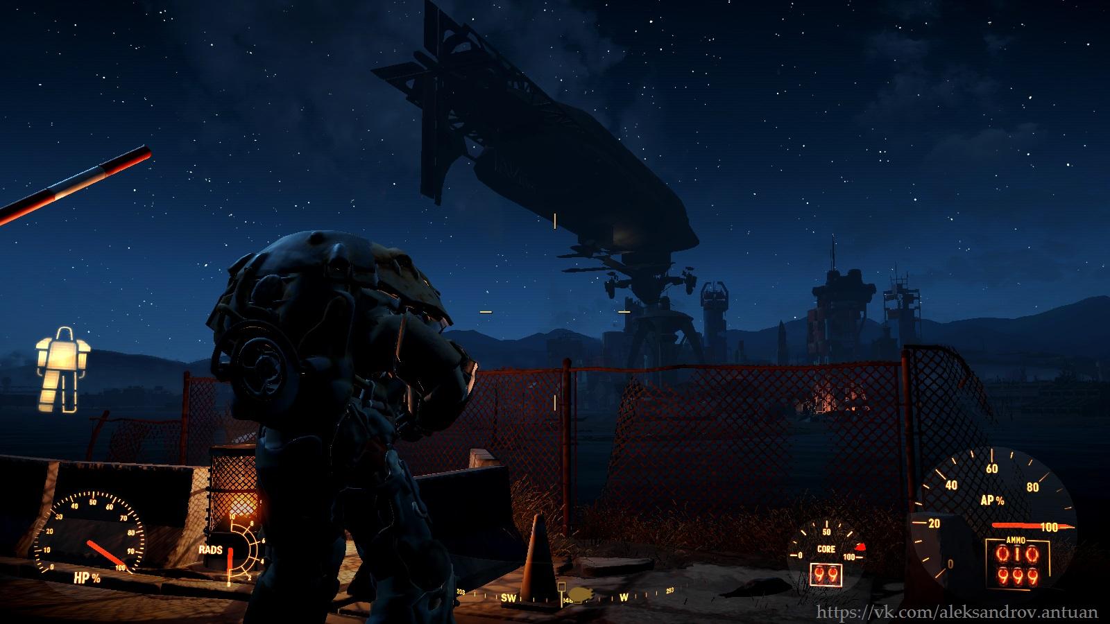 """Вид на """"Придвен"""" в Бостонском аэропорту, со стороны КПП форта Стронг. - Fallout 4 придвен, силовая броня, стронг"""