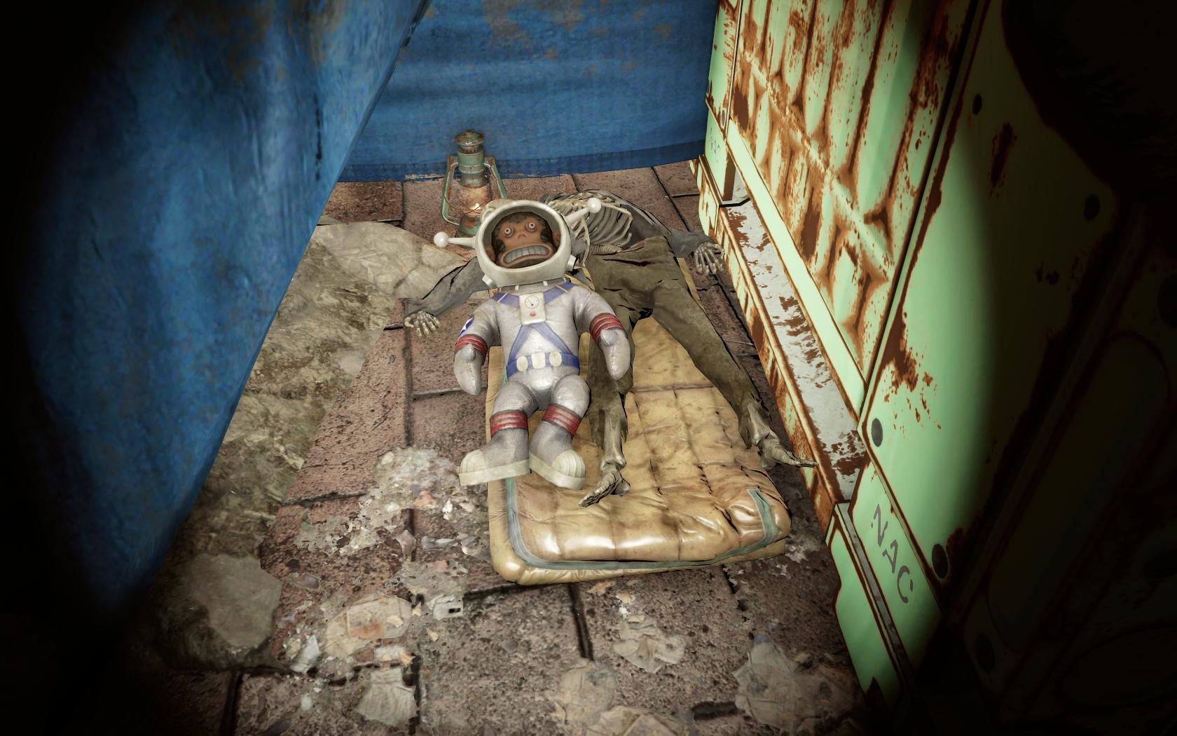 Мартышка (локация в квесте Раскопки) - Fallout 4 Лунная, мартышка, Раскопки, скелет