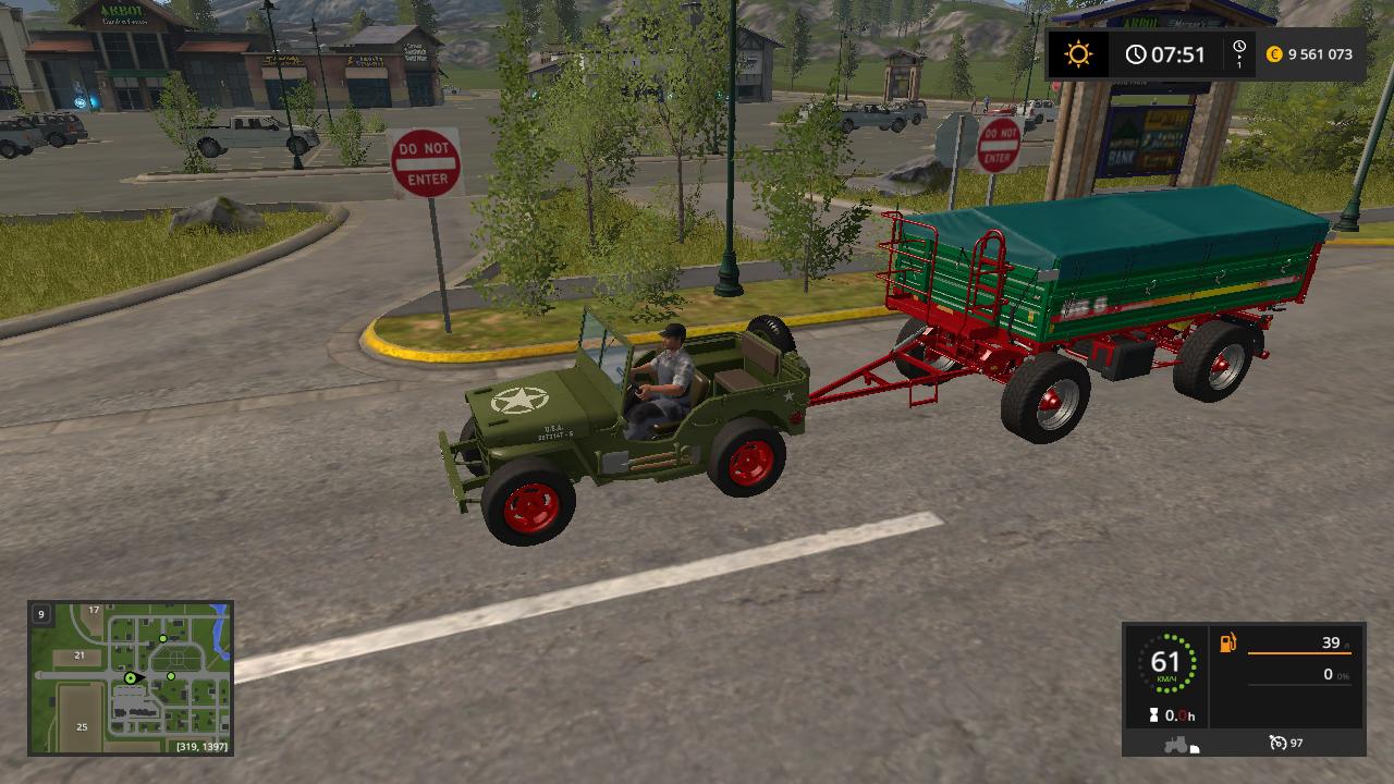 JEEP WILLYS V 1.1 - Farming Simulator 17 Автомобиль, Мод, Транспорт, хаки