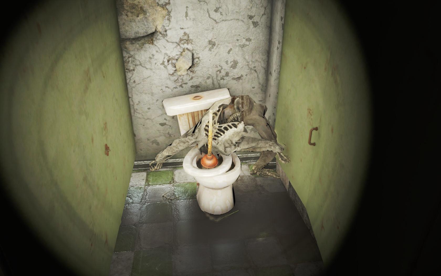 Его прям запихивали мордой в унитаз (Медцентр Массачусетс-Бэй) - Fallout 4 Массачусетс, Массачусетс-Бэй, Медцентр, Медцентр Массачусетс-Бэй, скелет