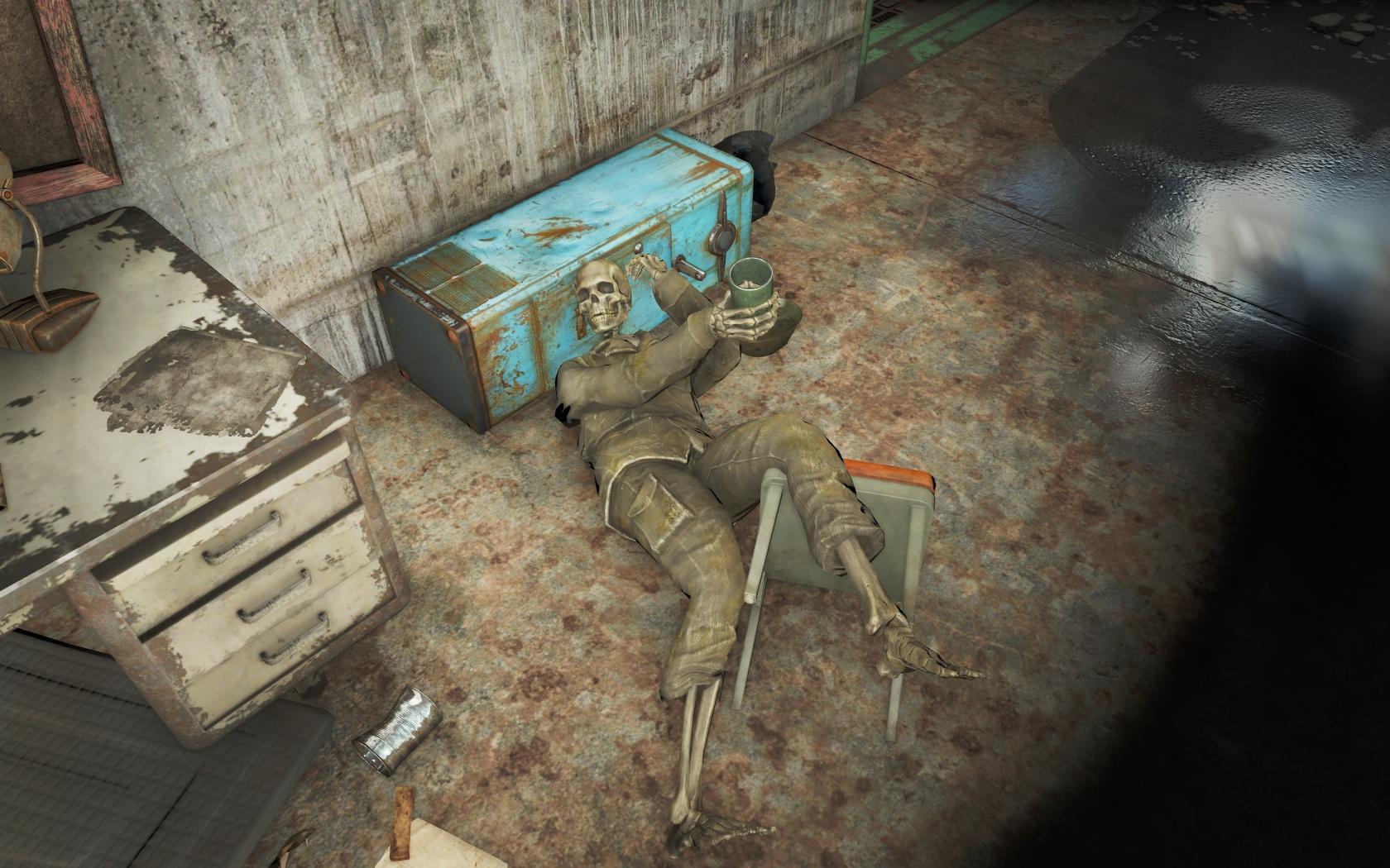 Предлагает выпить? (Спутниковая антенна базы Форт-Хаген) v2 - Fallout 4 антенна, скелет, Спутниковая антенна базы Форт-Хаген, Форт-Хаген