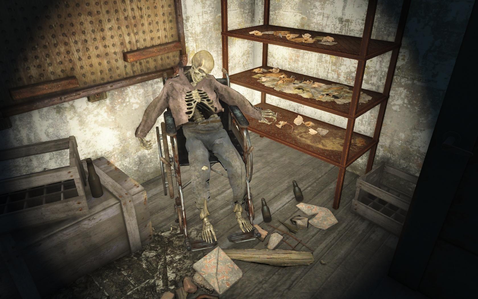Спился от безысходности (Таинственны сосны) - Fallout 4 скелет, Таинственны сосны