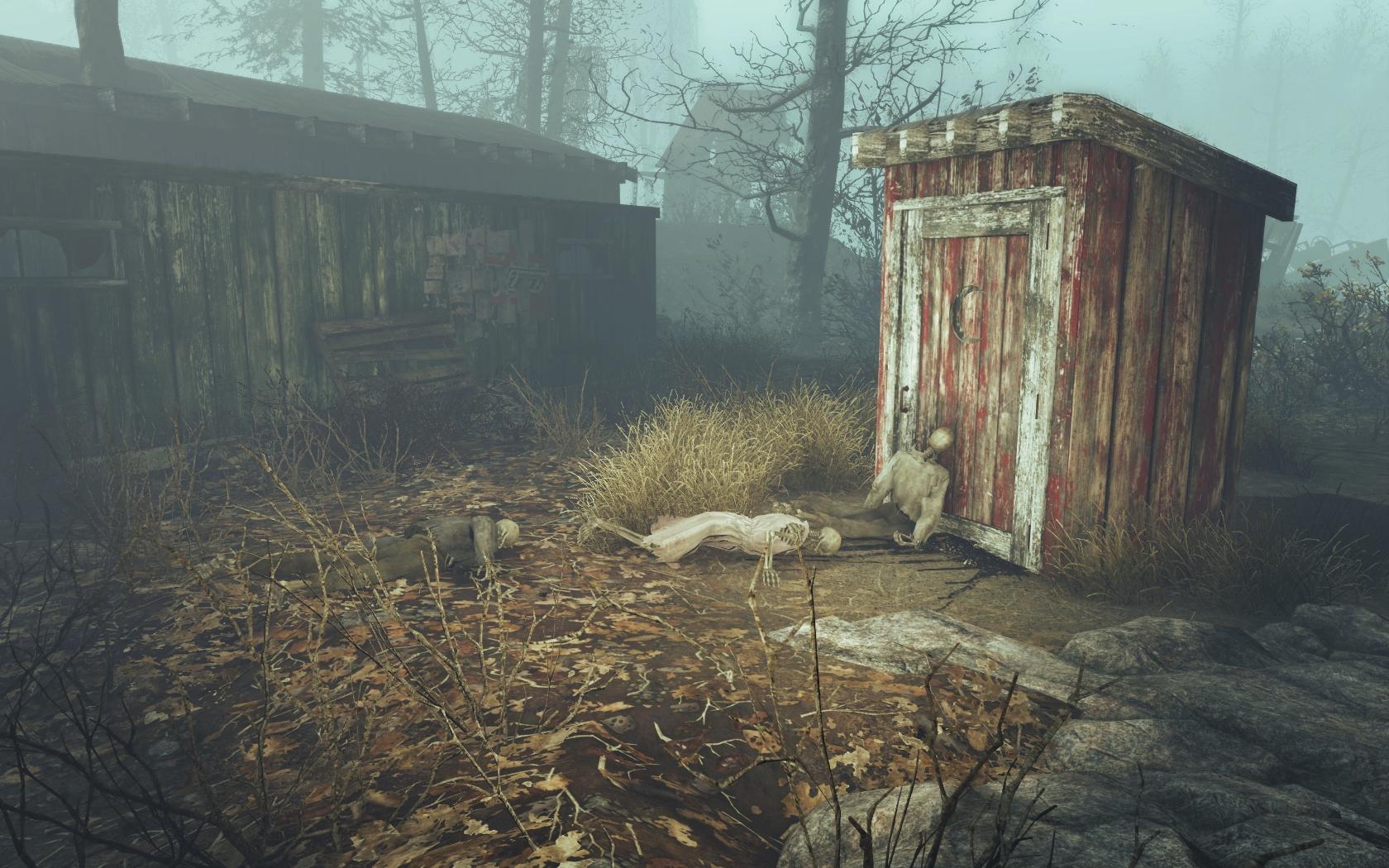 Не дождались (Фар-Харбор, северо-восточнее отеля Клиффс Эдж) - Fallout 4 Клиффс Эдж, отель, отель Клиффс Эдж, скелет
