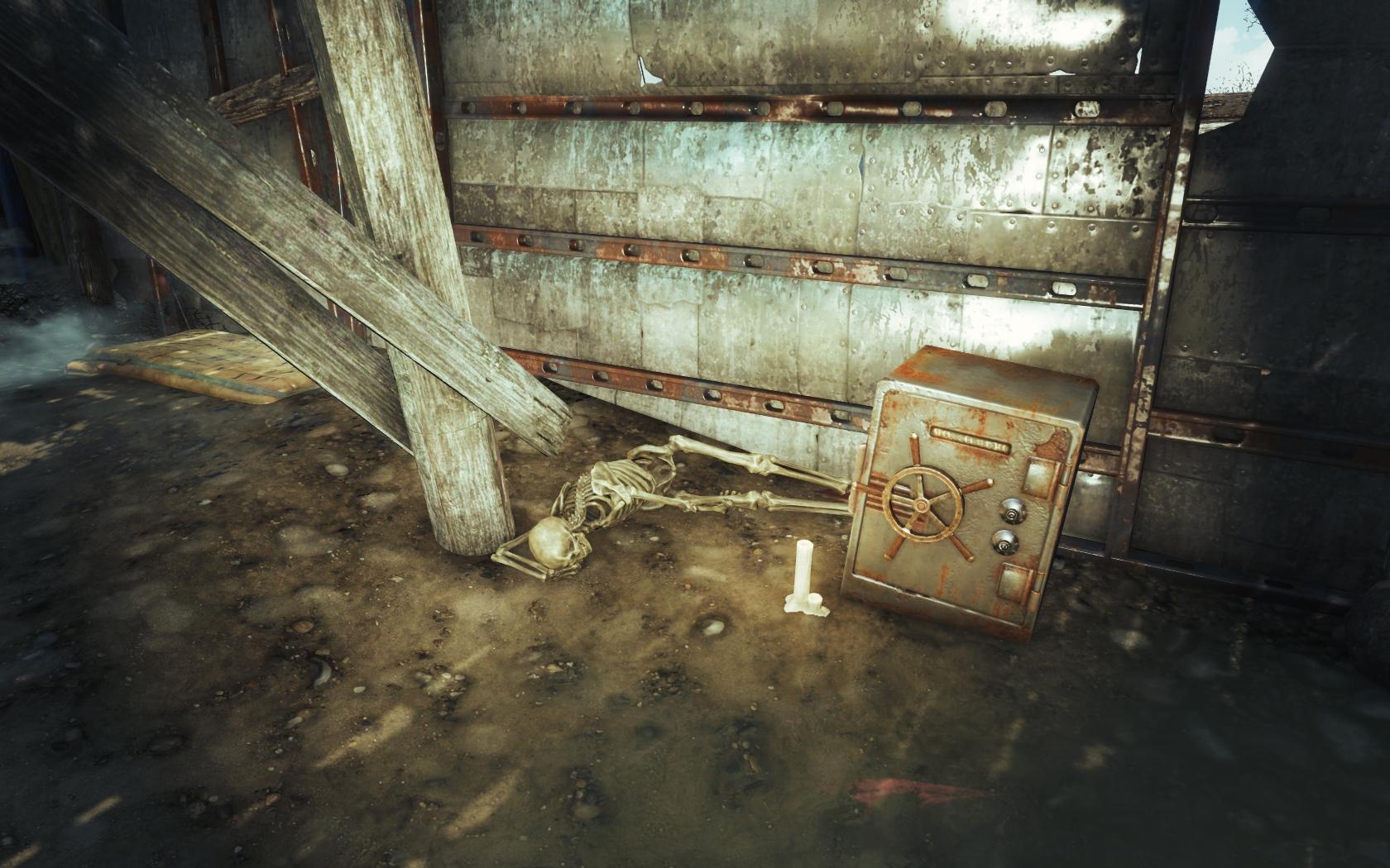Не удалось взломать (Фар-Харбор, северо-восточнее отеля Клиффс Эдж) - Fallout 4 Клиффс Эдж, отель, отель Клиффс Эдж, сейф, скелет