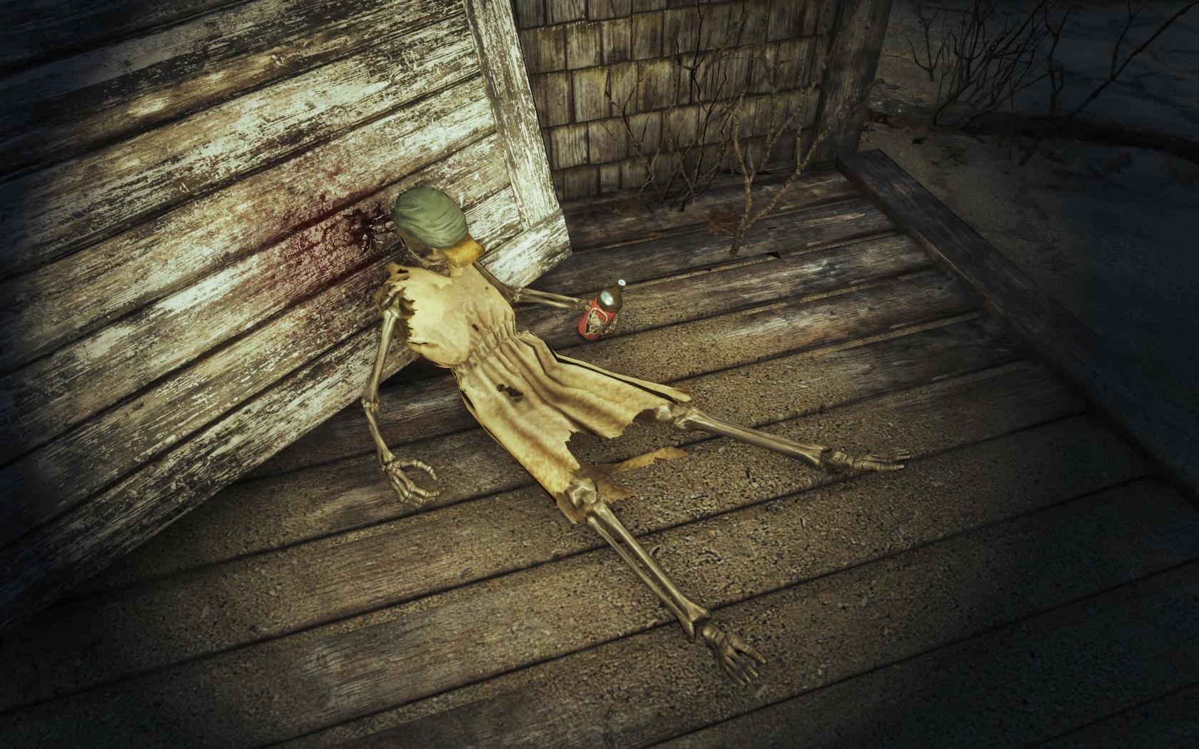 Кайфуем! (Фар-Харбор, севернее Туристического центра национального парка) - Fallout 4 скелет, Туристический центр национального парка