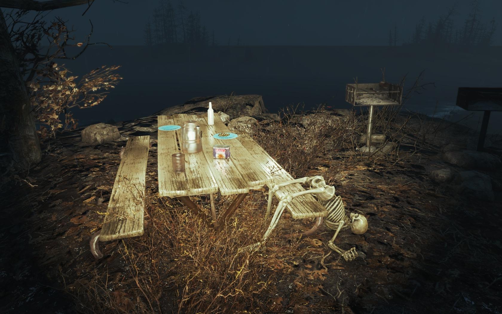 Обед до отвала (Фар-Харбор, восточнее Туристического центра национального парка) - Fallout 4 скелет, Туристический центр национального парка
