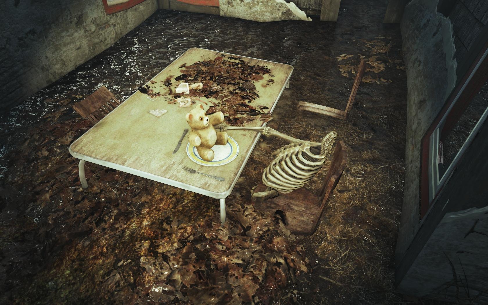 Неудавшаяся трапеза (Фар-Харбор, окрестности Океанариума) v2 - Fallout 4 Океанариум, скелет
