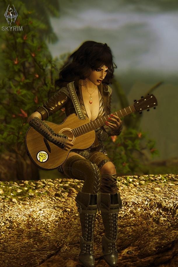 016. Алисса с гитарой.jpg - Elder Scrolls 5: Skyrim, the CBBE, Сборка-21