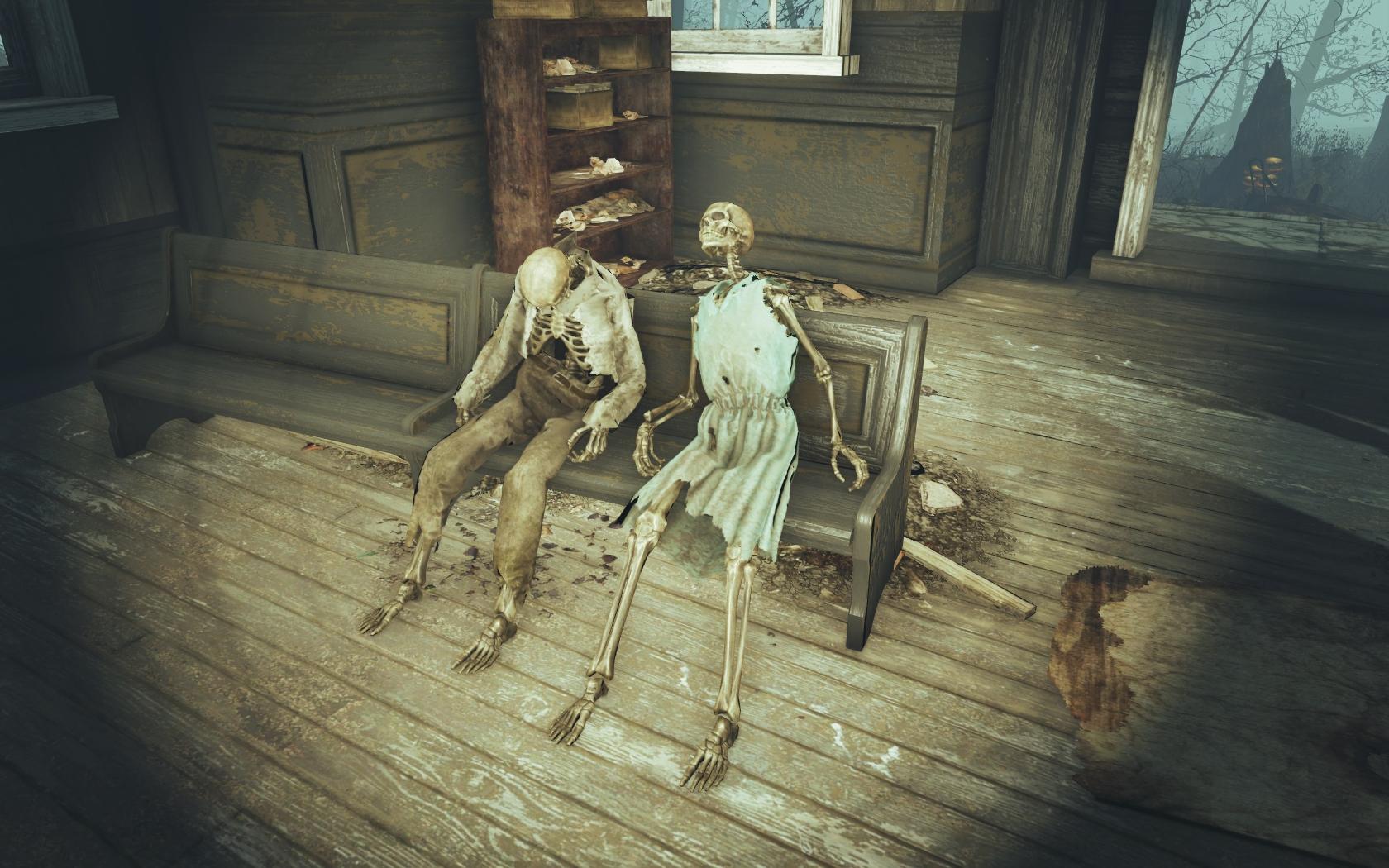 Паства (Фар-Харбор, Разрушенная церковь) - Fallout 4 скелет