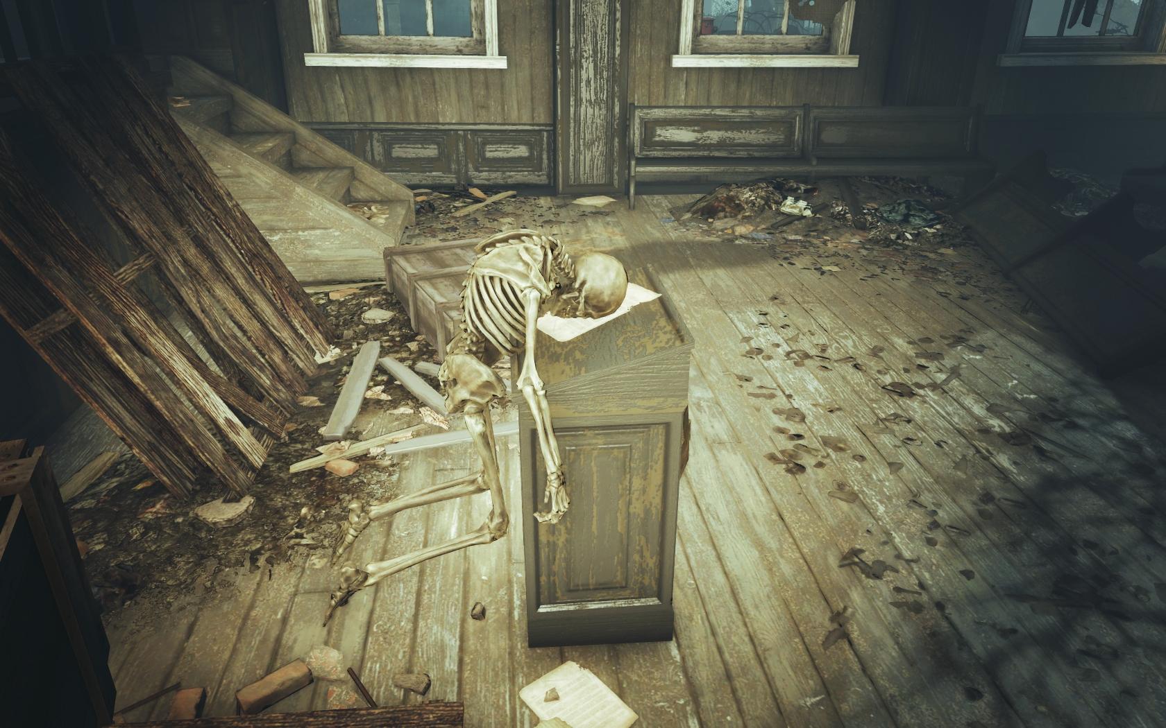 Пастор (Фар-Харбор, Разрушенная церковь) - Fallout 4 скелет