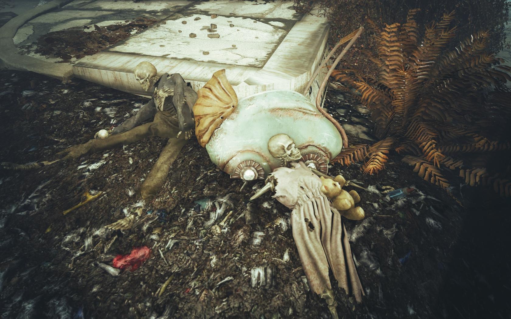 Семейка с мишкой и погремушкой (Фар-Харбор, Разрушенная церковь) - Fallout 4 скелет
