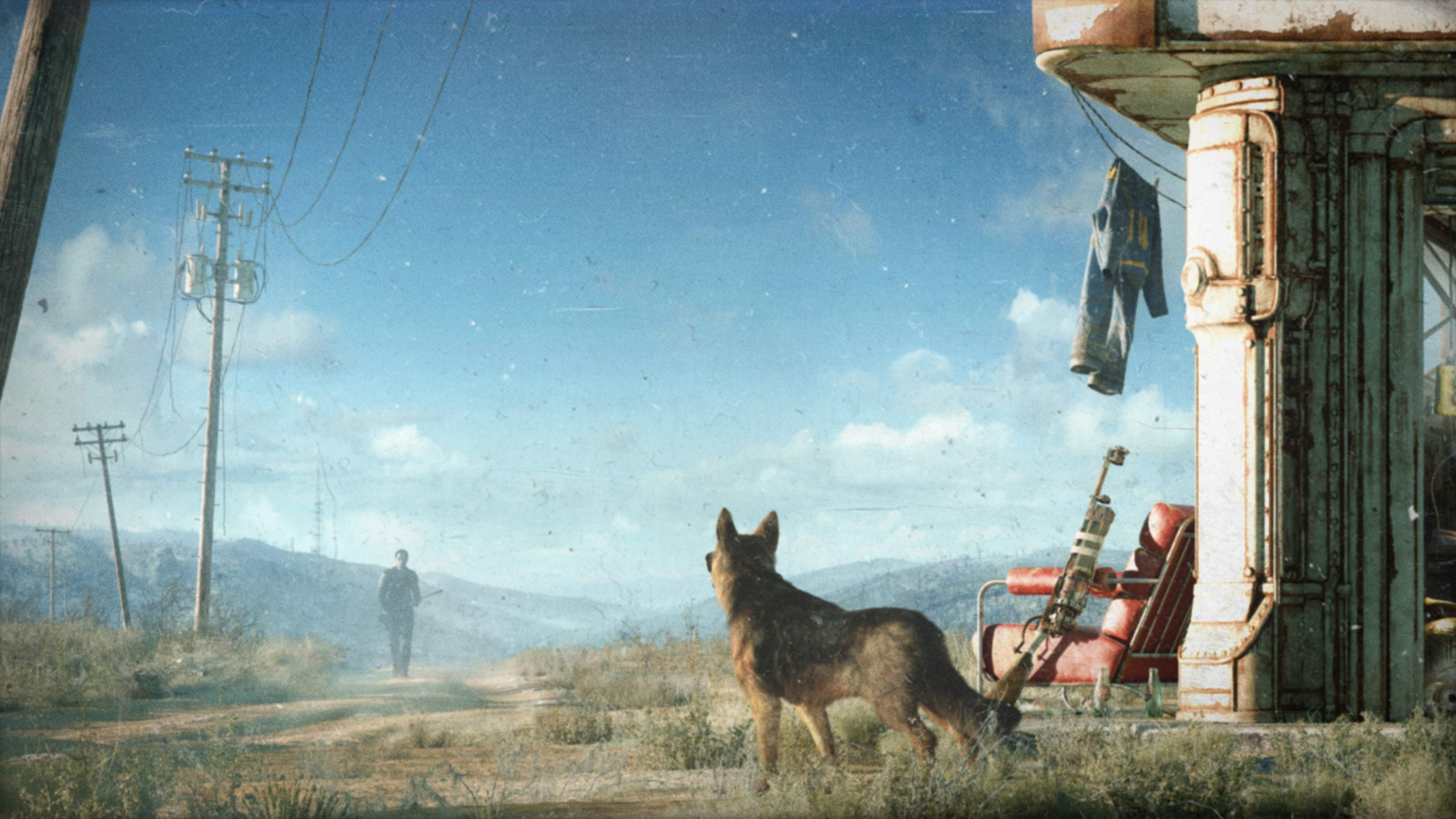 First meeting with the Dog - Fallout 4 арт, Заправка, Собака