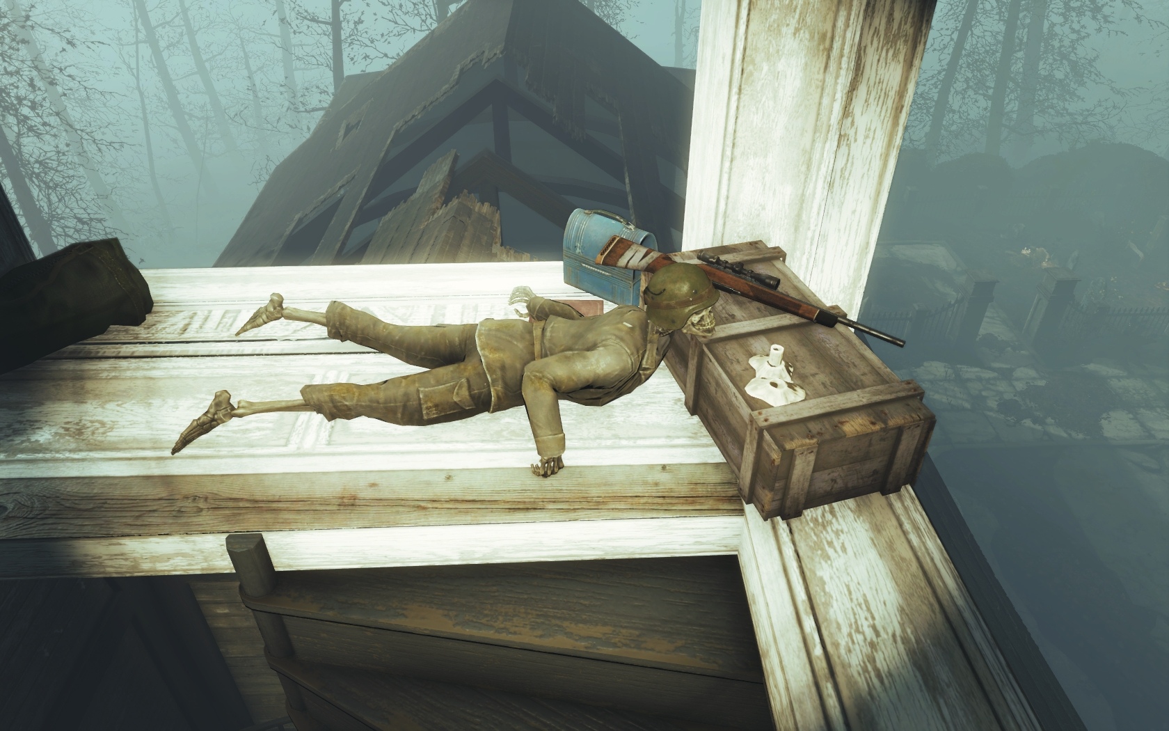 Он умер на боевом посту (Фар-Харбор, Разрушенная церковь) v2 - Fallout 4 скелет