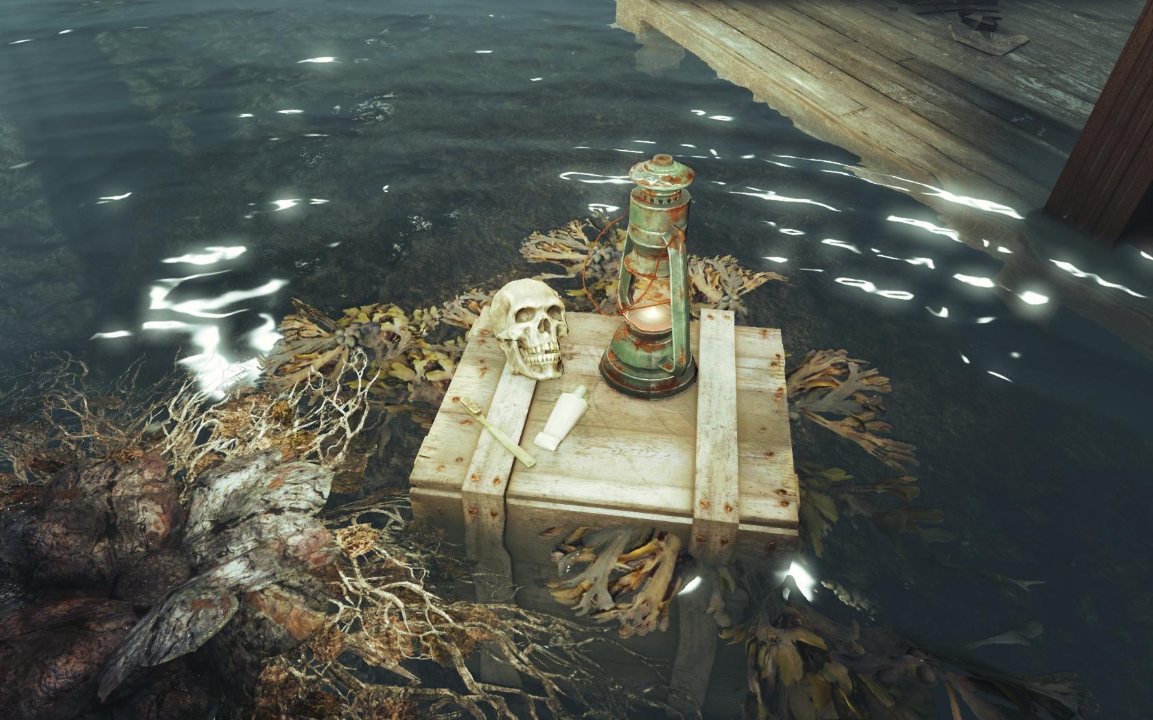 Паста с щёткой уже не пригодятся (Фар-Харбор, южнее Разрушенной церкви) - Fallout 4 скелет