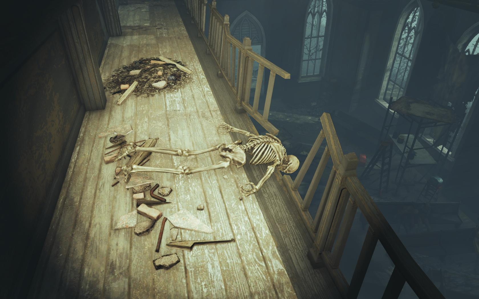 Проломил головой перила (Фар-Харбор, Разрушенная церковь) - Fallout 4 скелет, Юмор
