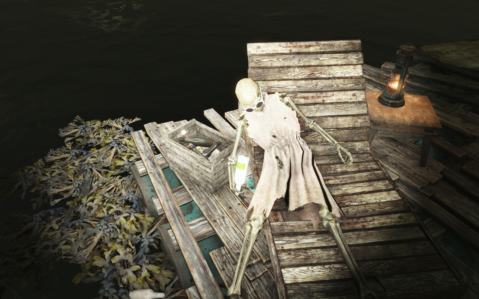Нажралась (Фар-Харбор, восточнее Разрушенной радиовышки) - Fallout 4 радиовышка, Разрушенная радиовышка, скелет, Юмор