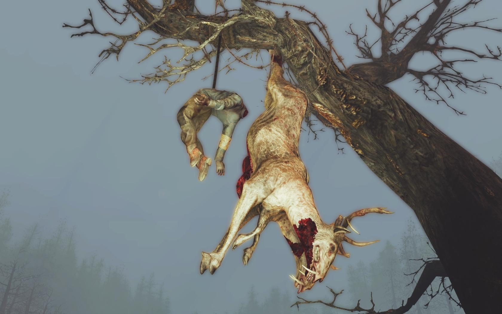 Что человек, что олень... Какая разница? Вешают всех! (Фар-Харбор, Старый домик у пруда) - Fallout 4 олень, Старый домик у пруда
