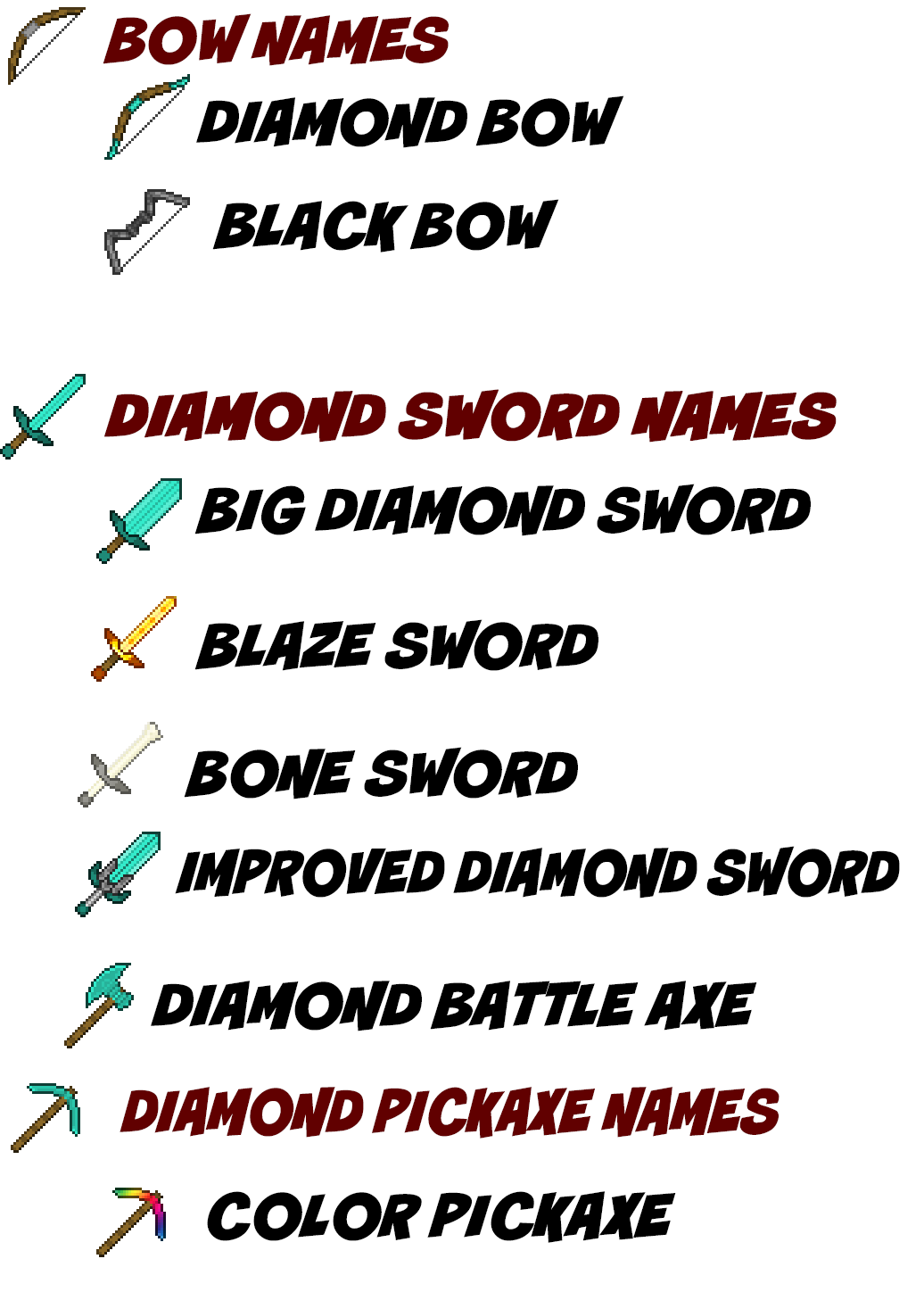 item names in anvil.png - Minecraft