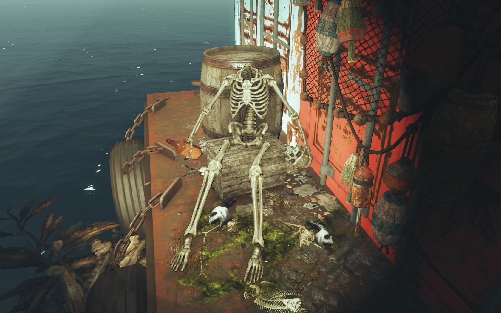 Сказ о вреде алкоголя (Фар-Харбор, Азалия) - Fallout 4 Азалия, скелет, юмор