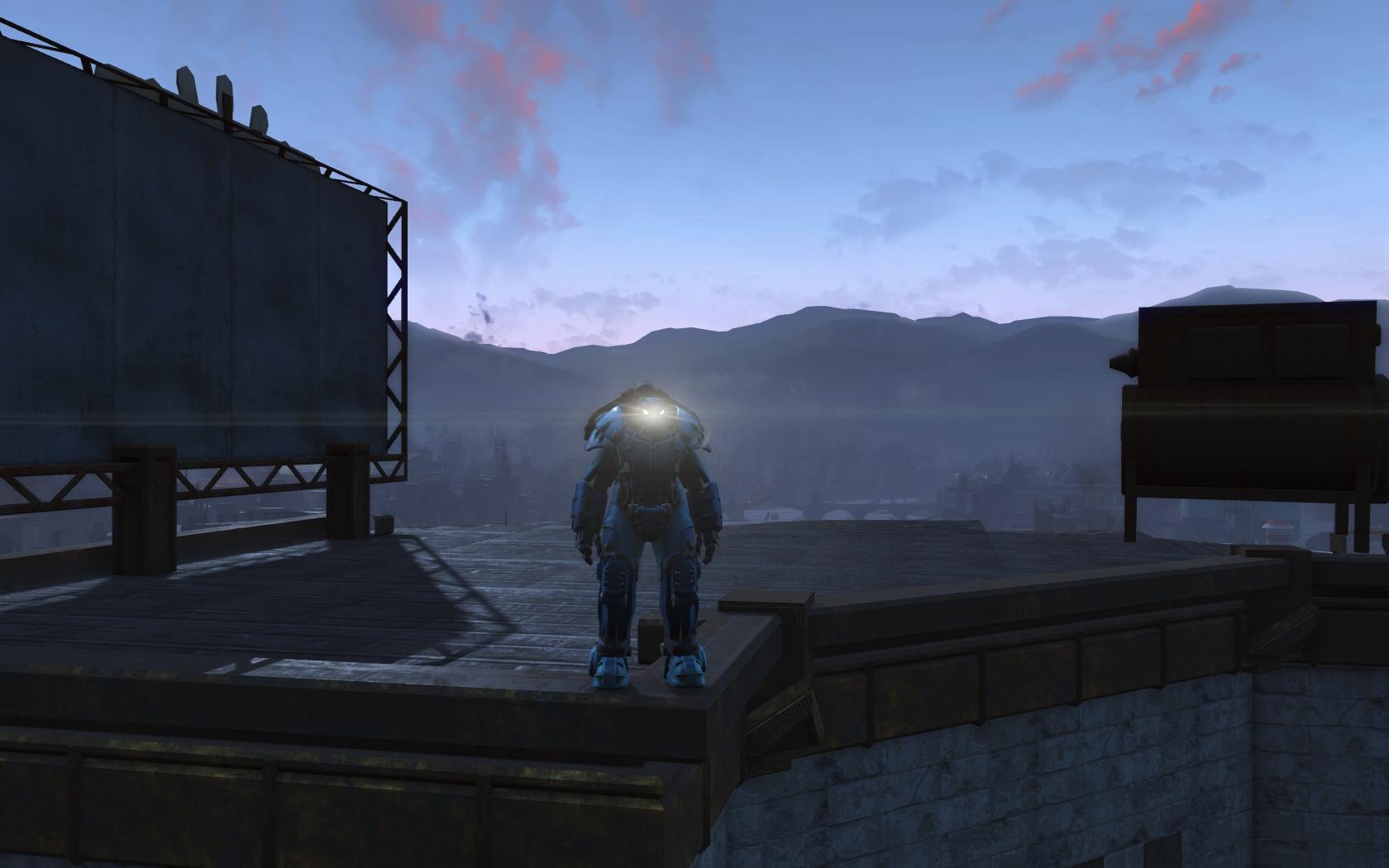 ГГ (на крыше Здания Бостон бьюгл) - Fallout 4 Бостон бьюгл, Здание Бостон бьюгл, Персонаж, Силовая броня