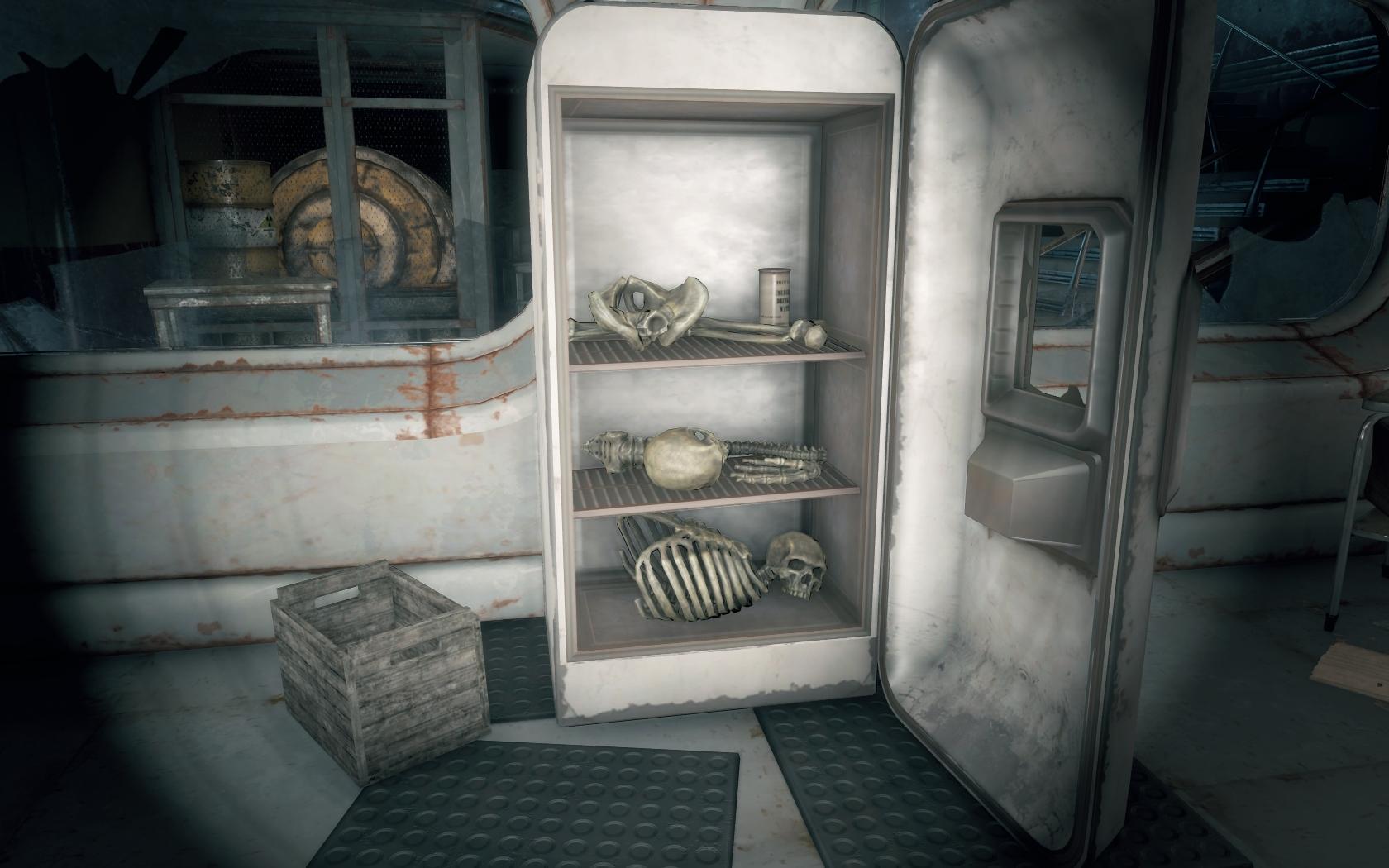 Холодильник полный жрачки - 3 (Мед-Тек Рисёрч) v2 - Fallout 4 Мед-Тек Рисёрч, скелет, холодильник
