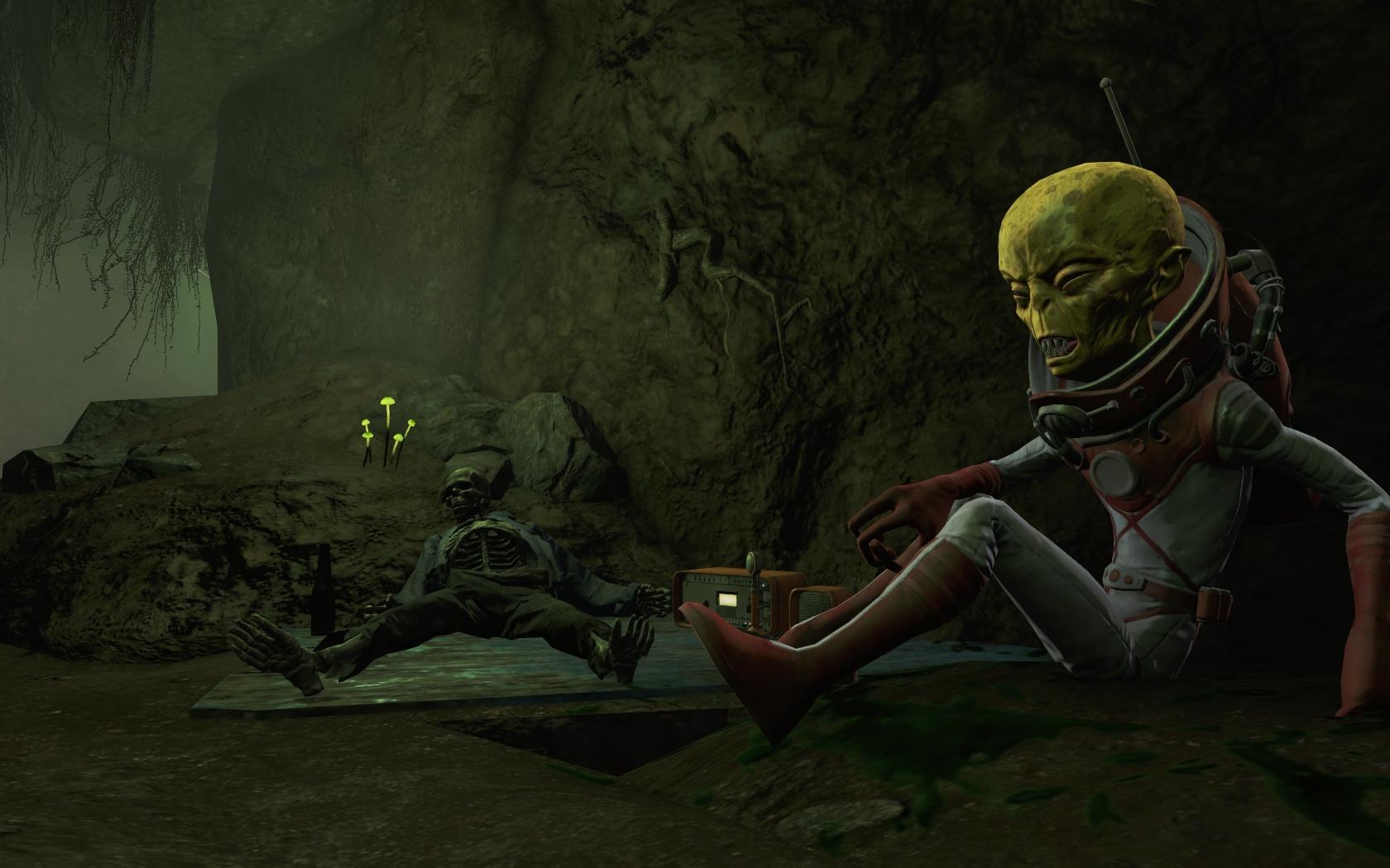 Чужой в пещере (юго-восточнее Станции Оберленд) #2 - Fallout 4 Дзетанец, Оберленд, пещера, Чужой