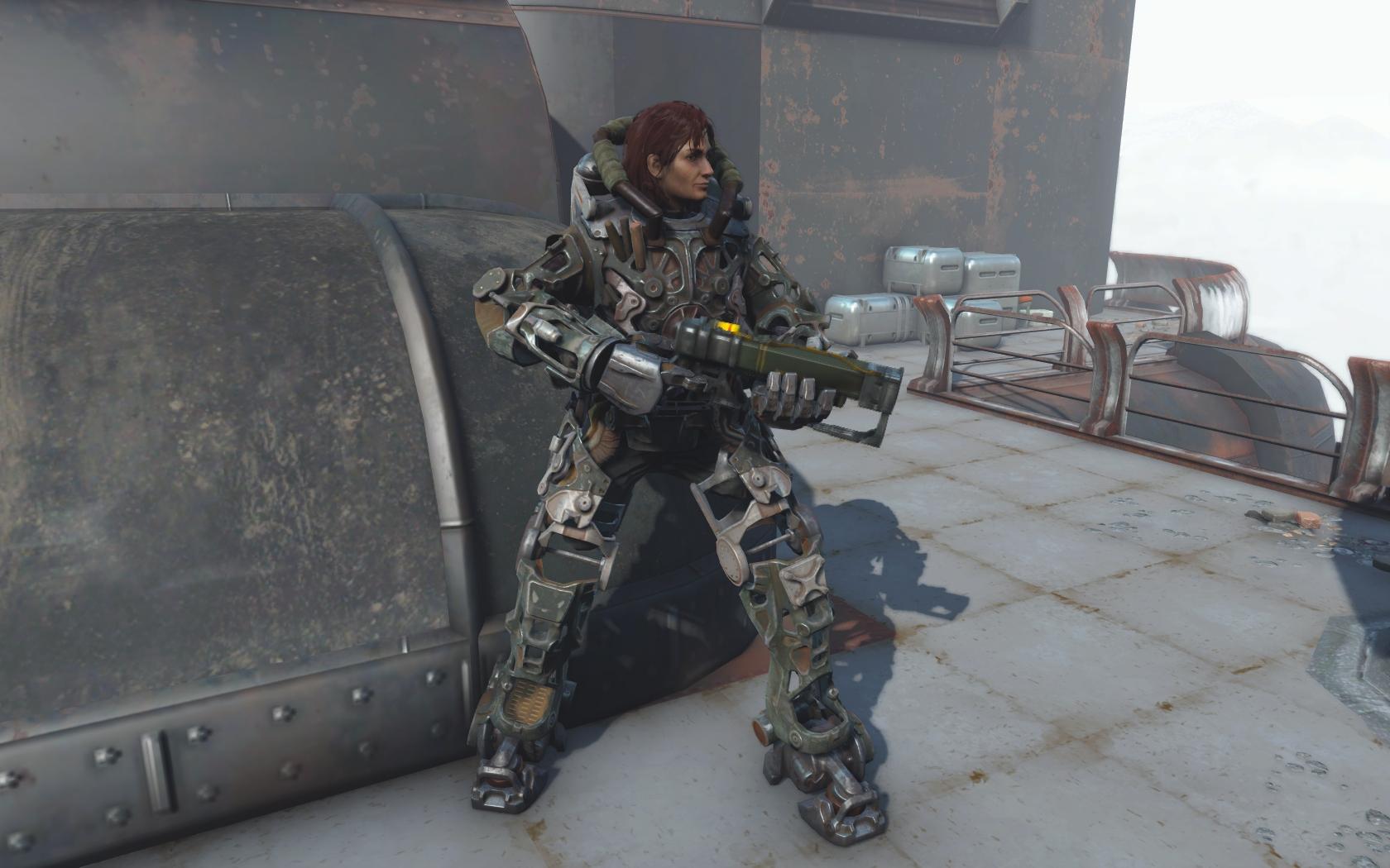 У Проктора Инграм плохо с бронёй, ещё и ноги отвалились (крыша Масс фьюжн) - Fallout 4 Баг, броня, Инграм, Проктор, Проктор Инграм, Силовая броня, Юмор