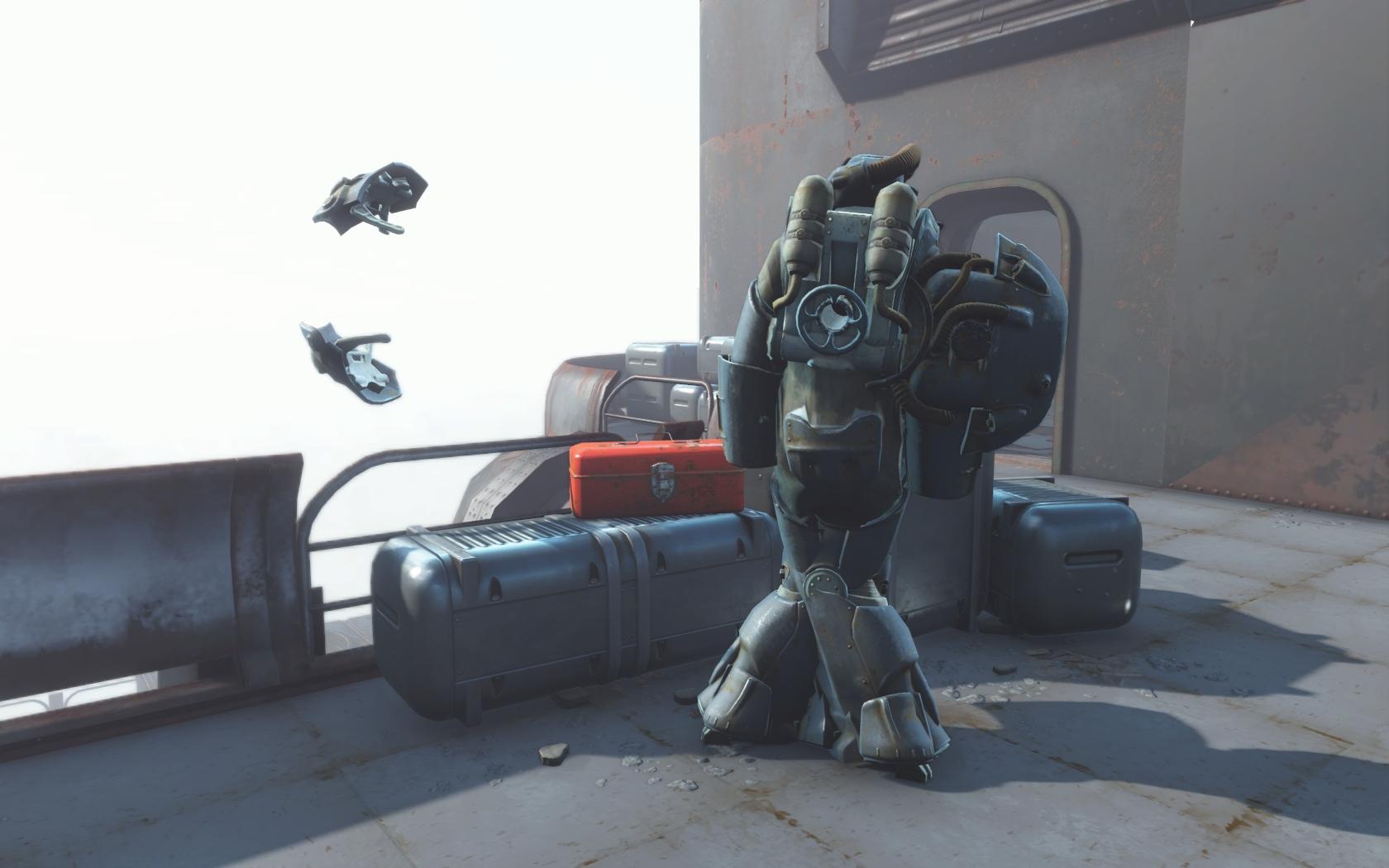 Хэнкок разваливается (крыша Масс фьюжн) - Fallout 4 Баг, броня, Силовая броня, Хэнкок, Юмор