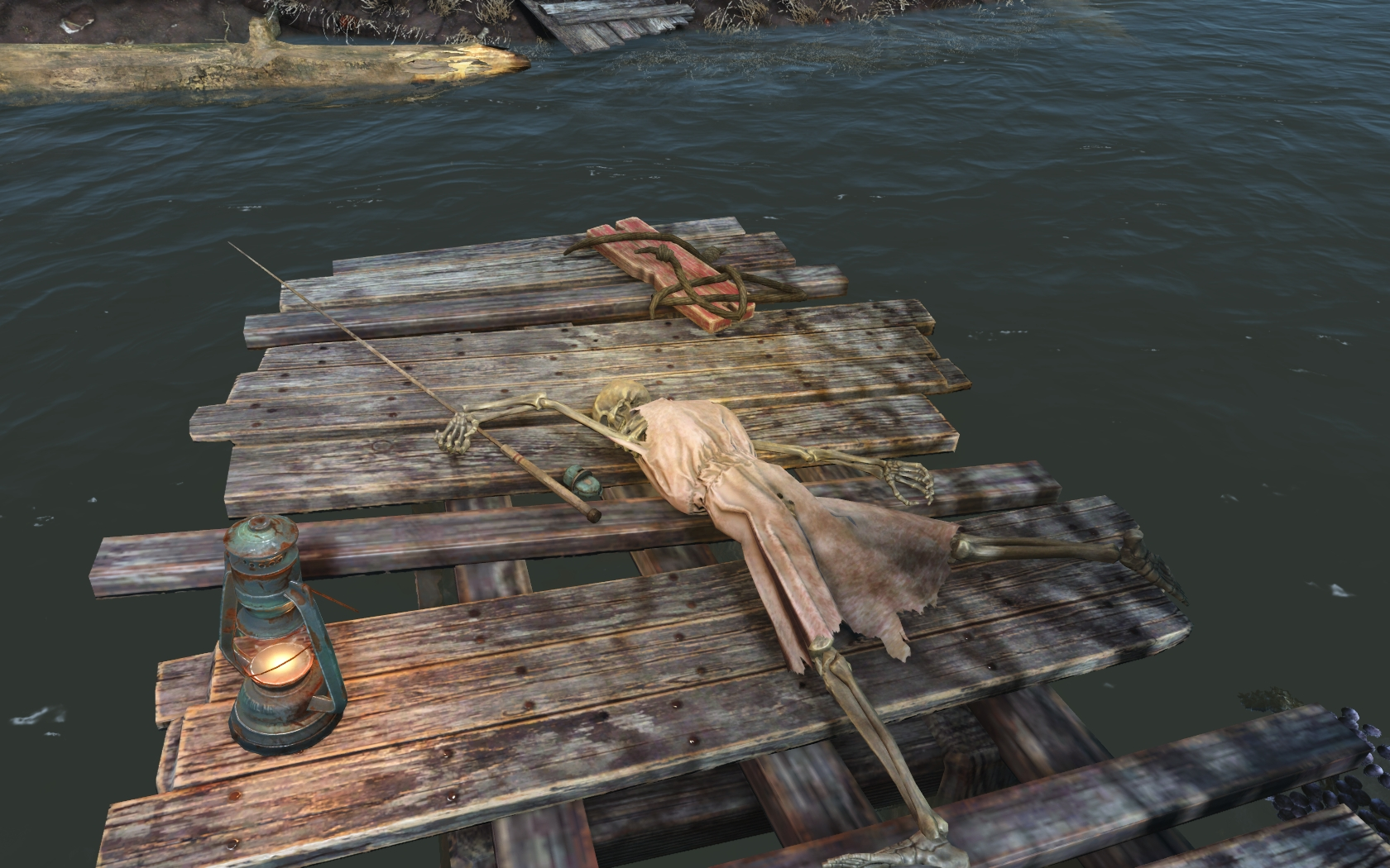 Мадам рыбачит (севернее Сэнкчуари) - Fallout 4 скелет, Юмор